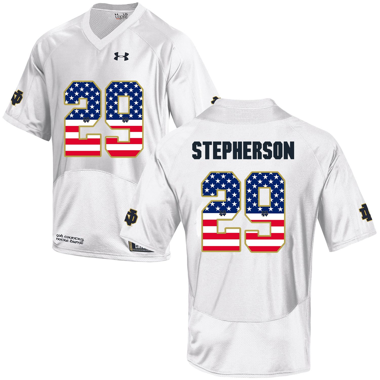 Men Norte Dame Fighting Irish 29 Stepherson White Flag Customized NCAA Jerseys