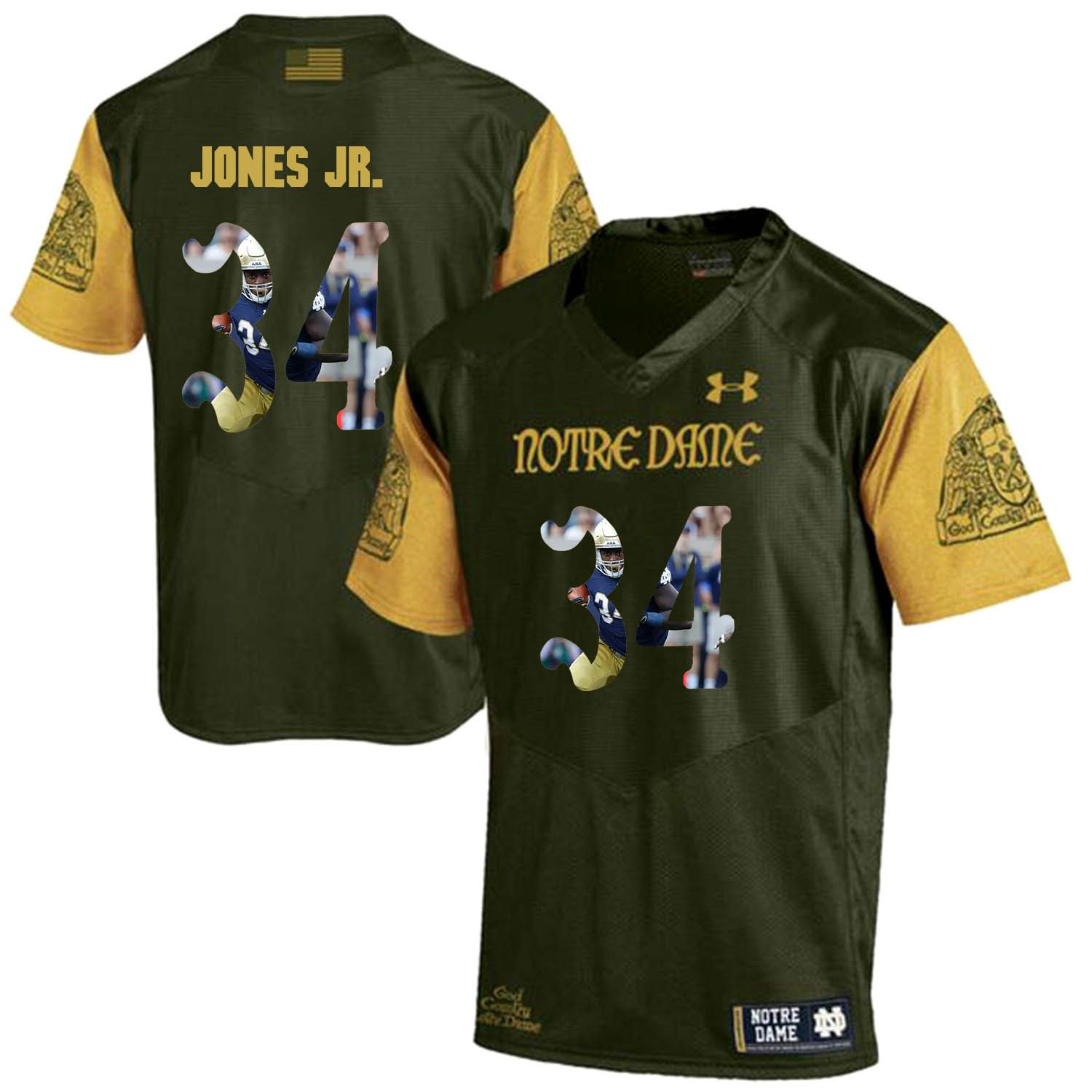 Men Norte Dame Fighting Irish 34 Jones jr Green Fashion Edition Customized NCAA Jerseys