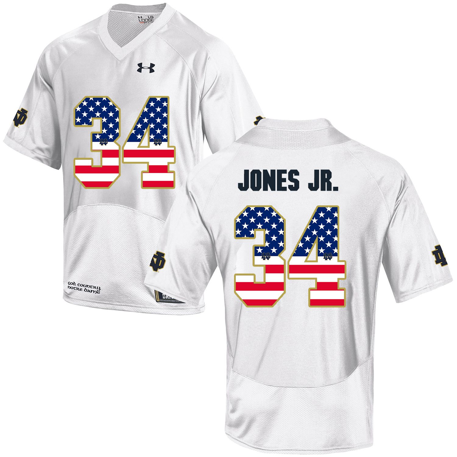 Men Norte Dame Fighting Irish 34 Jones jr White Flag Customized NCAA Jerseys