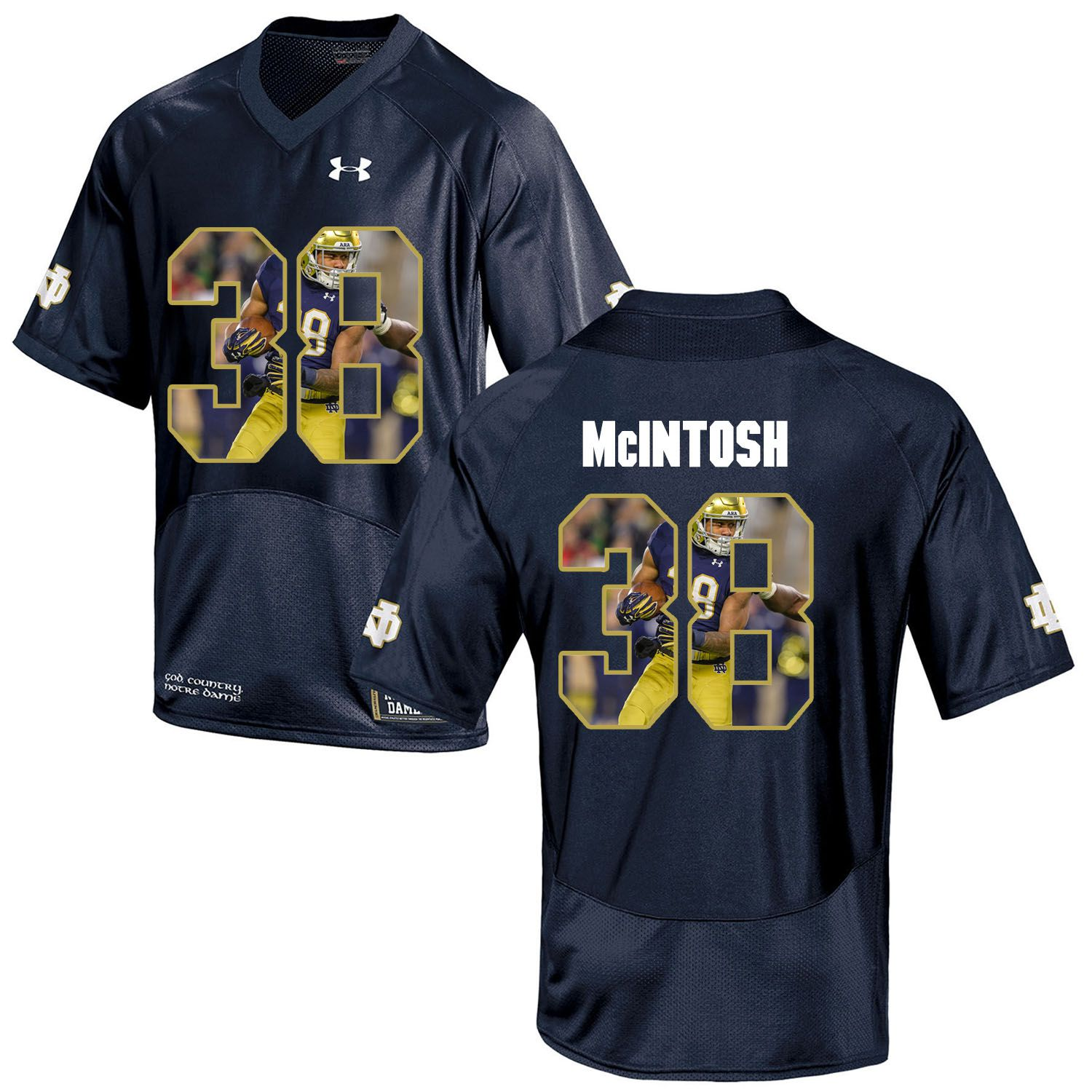 Men Norte Dame Fighting Irish 38 Mcintosh Navy Blue Fashion Edition Customized NCAA Jerseys