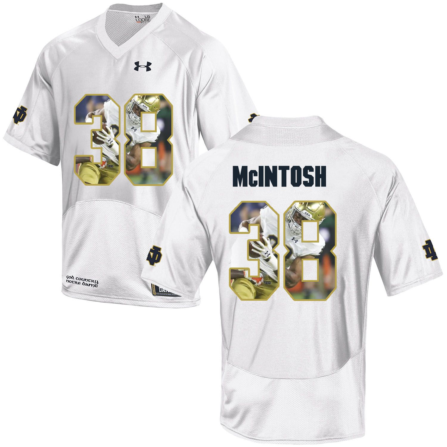 Men Norte Dame Fighting Irish 38 Mcintosh White Fashion Edition Customized NCAA Jerseys