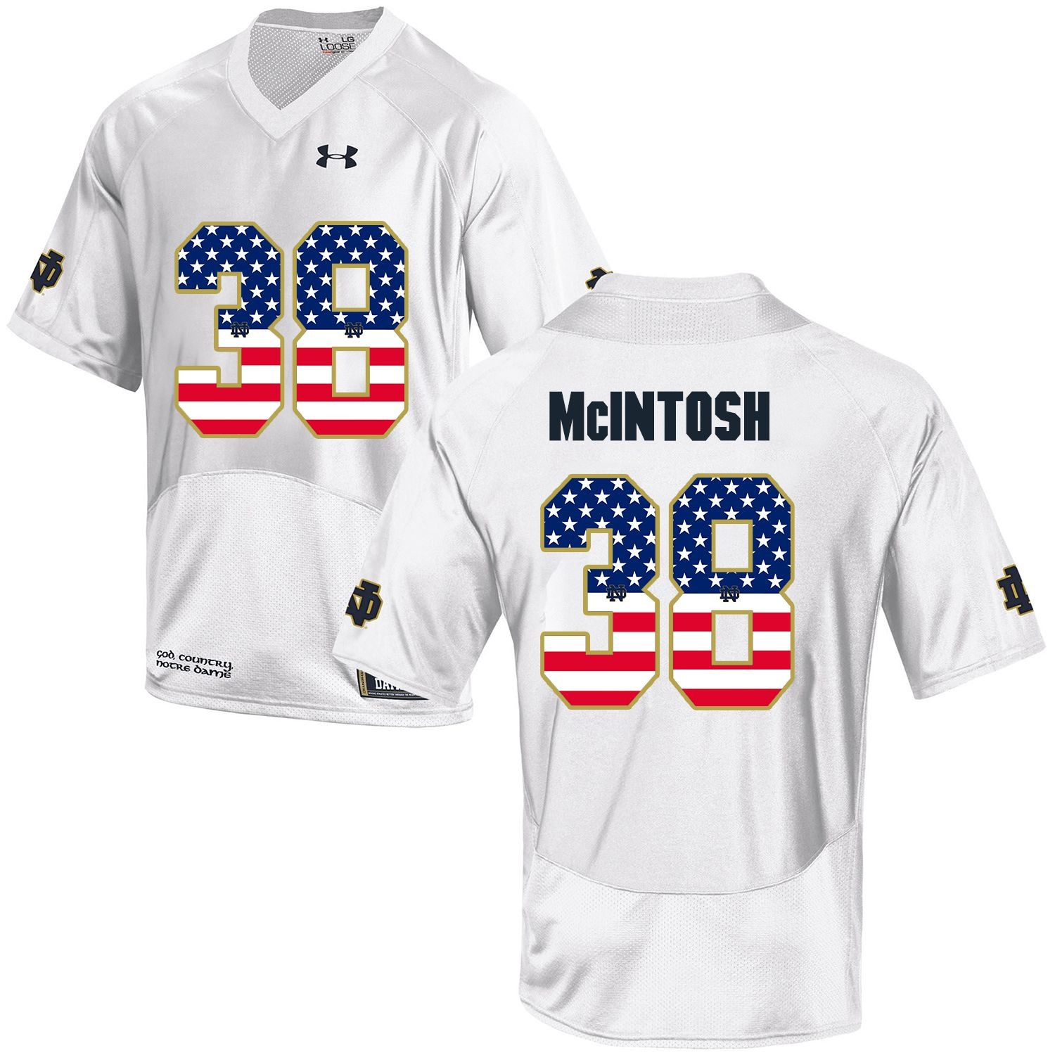 Men Norte Dame Fighting Irish 38 Mcintosh White Flag Customized NCAA Jerseys