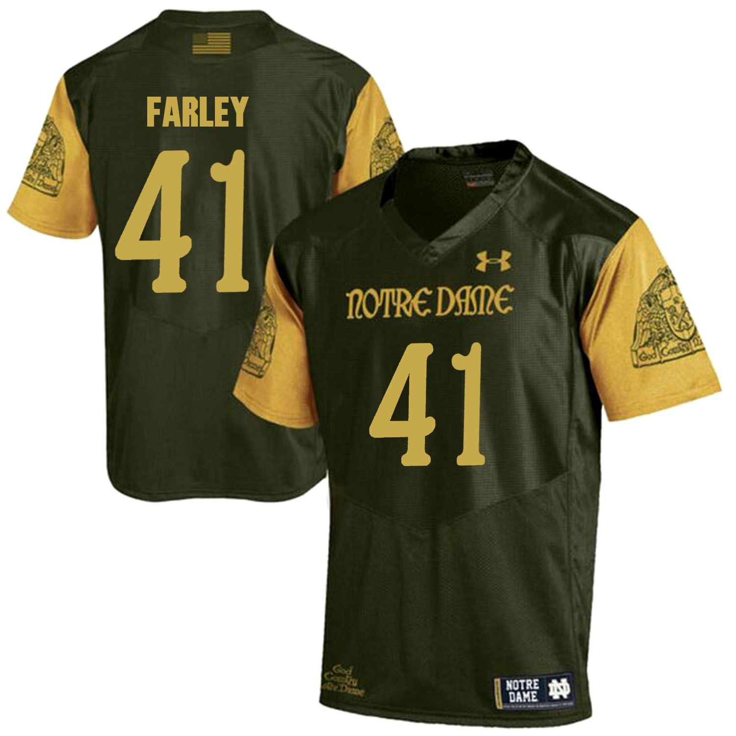 Men Norte Dame Fighting Irish 41 Farley Green Customized NCAA Jerseys