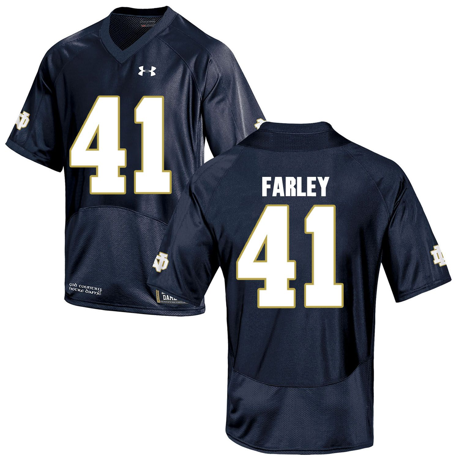 Men Norte Dame Fighting Irish 41 Farley Navy Blue Customized NCAA Jerseys
