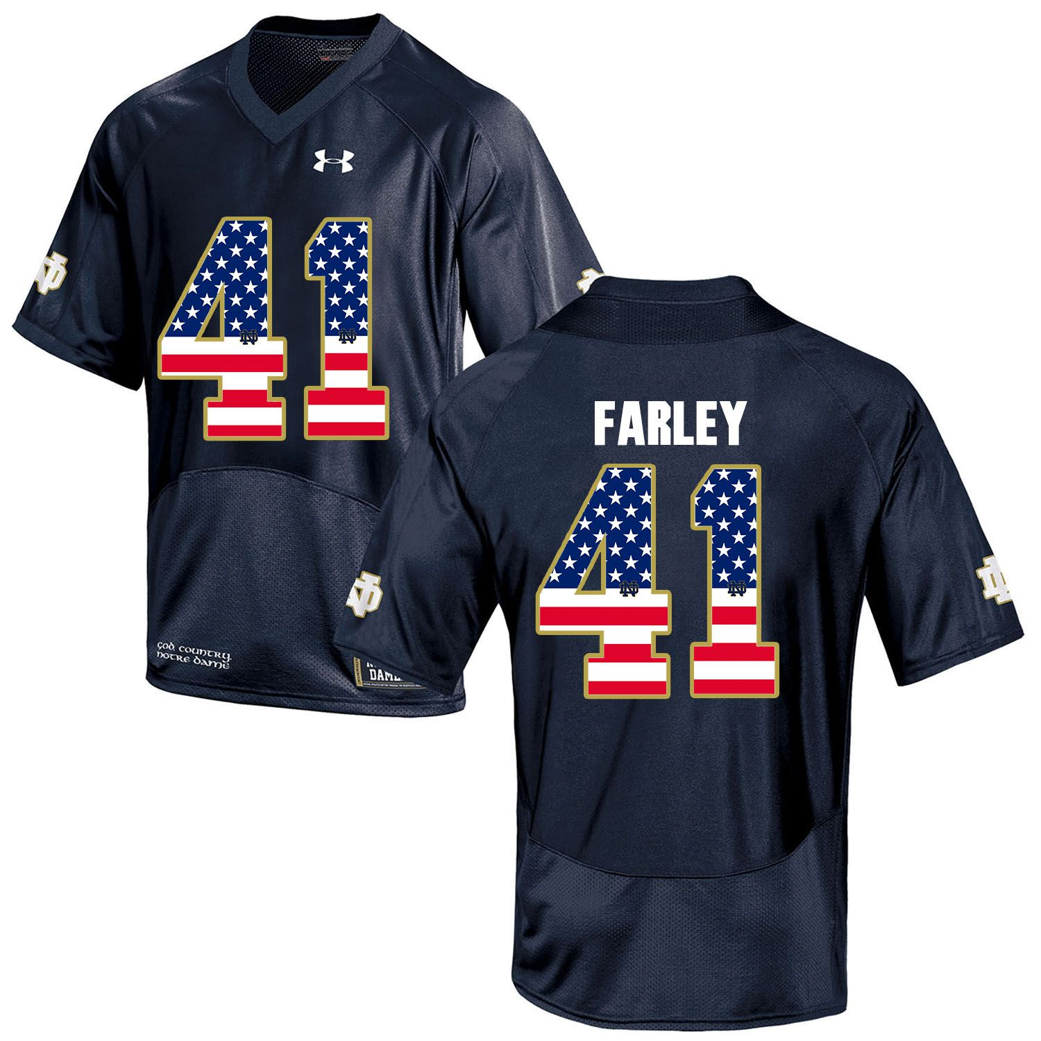 Men Norte Dame Fighting Irish 41 Farley Navy Blue Flag Customized NCAA Jerseys