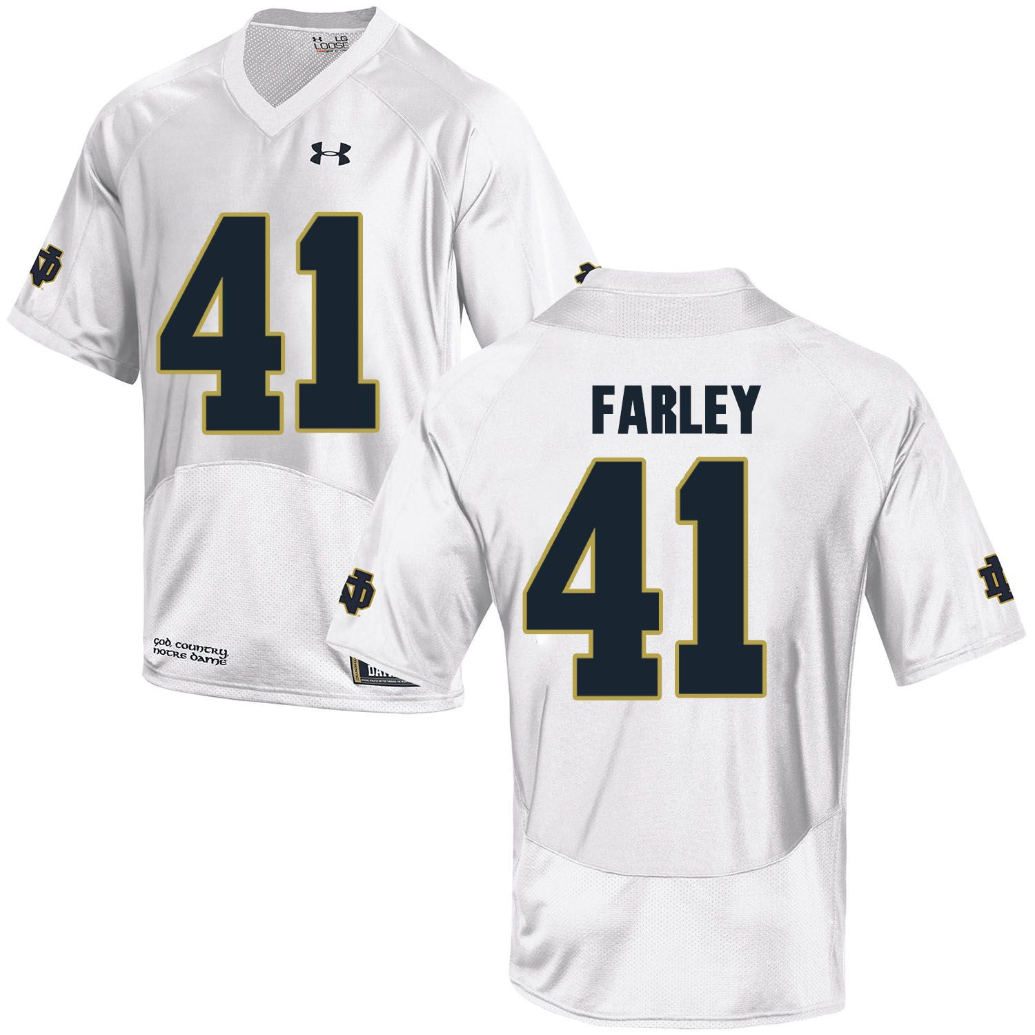 Men Norte Dame Fighting Irish 41 Farley White Customized NCAA Jerseys