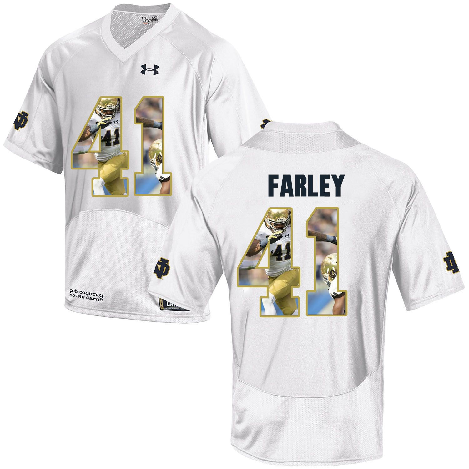 Men Norte Dame Fighting Irish 41 Farley White Fashion Edition Customized NCAA Jerseys