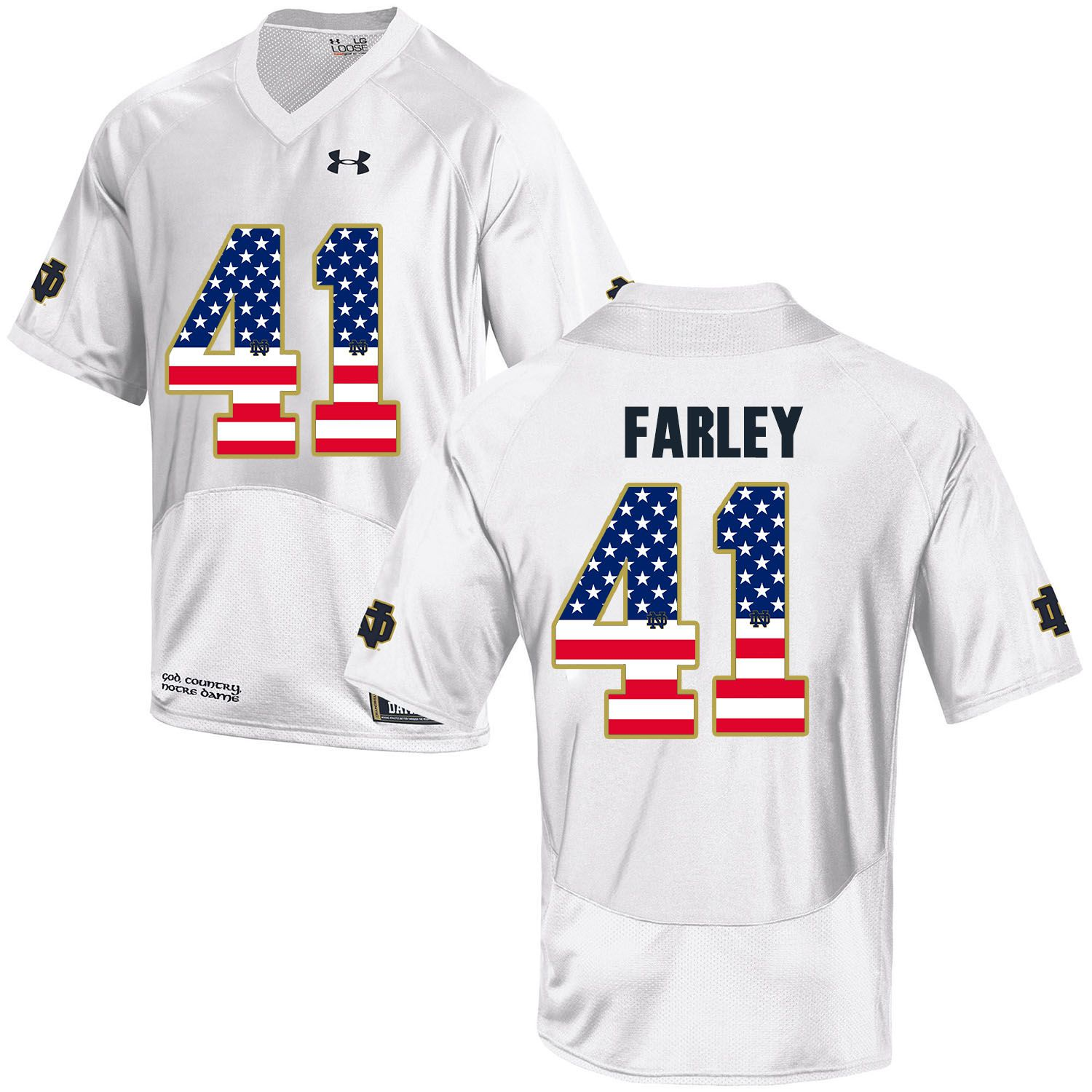 Men Norte Dame Fighting Irish 41 Farley White Flag Customized NCAA Jerseys