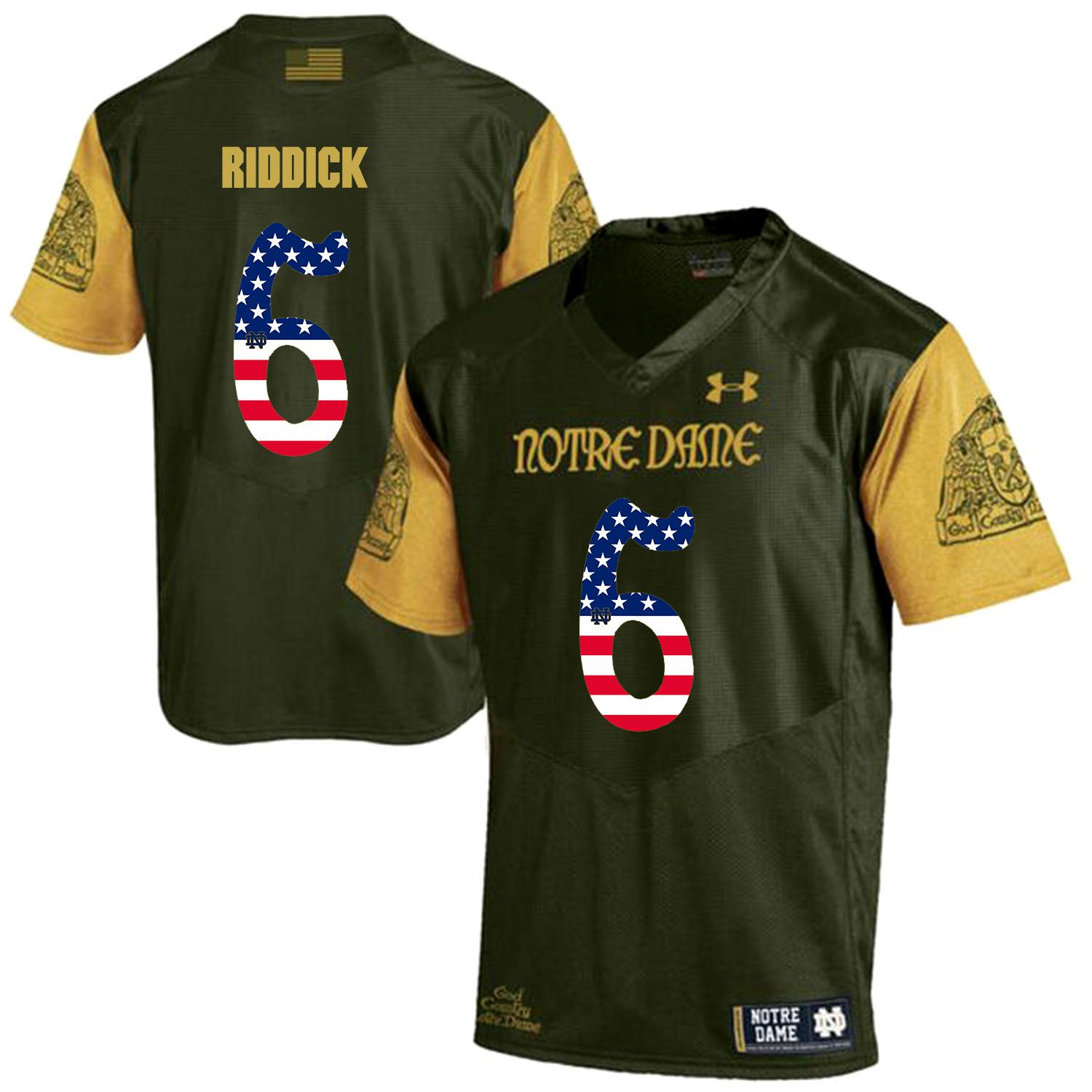 Men Norte Dame Fighting Irish 6 Riddick Green Flag Customized NCAA Jerseys