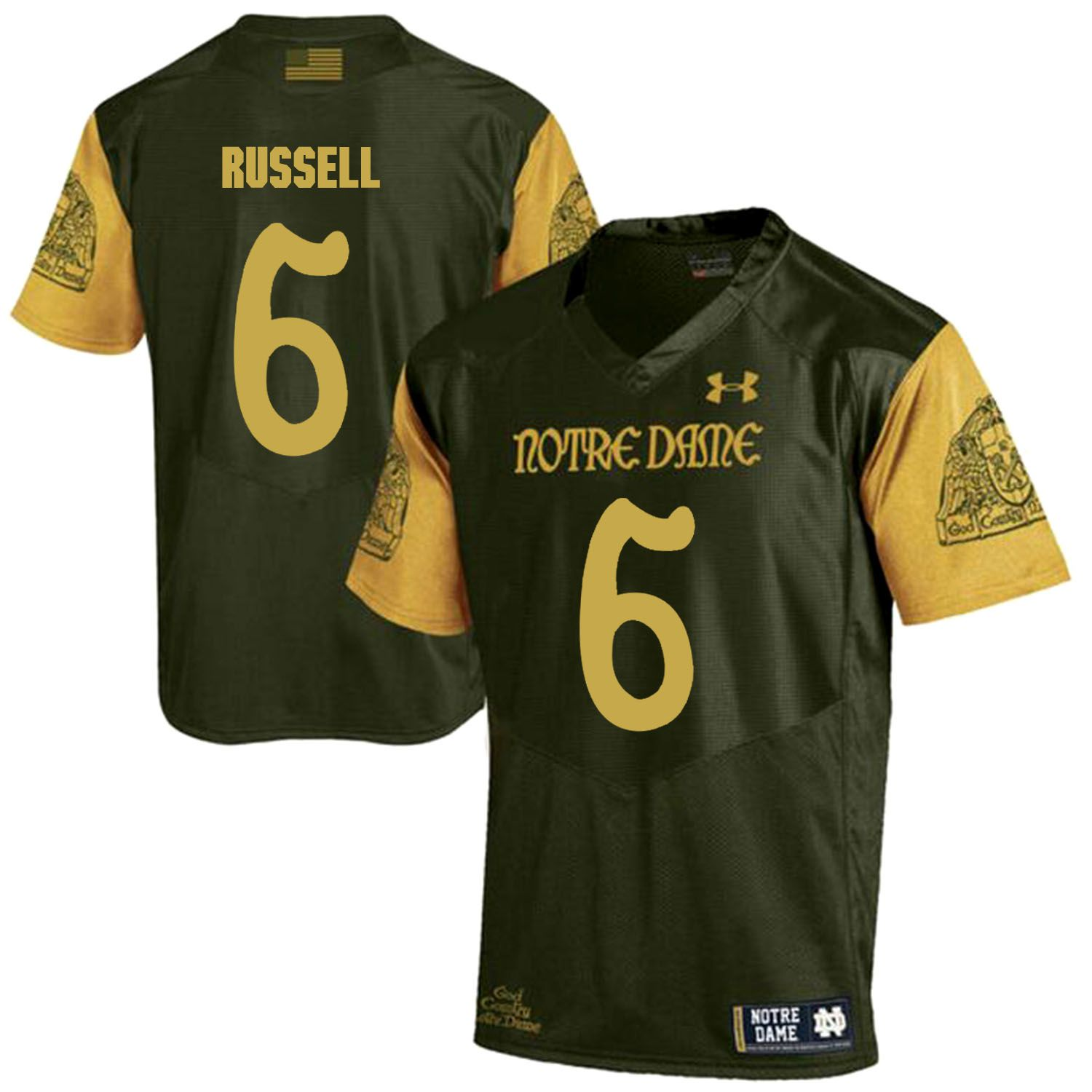Men Norte Dame Fighting Irish 6 Russell Green Customized NCAA Jerseys