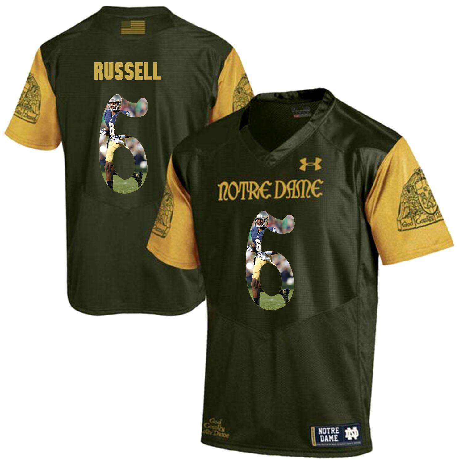 Men Norte Dame Fighting Irish 6 Russell Green Fashion Edition Customized NCAA Jerseys