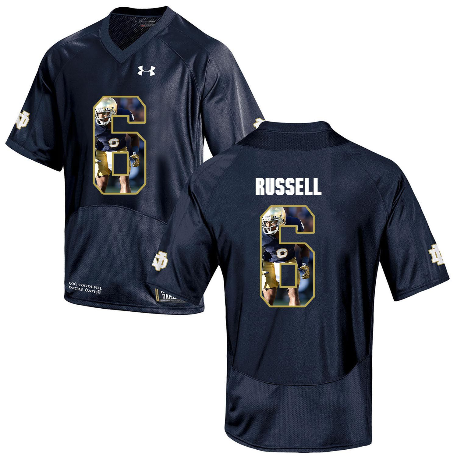 Men Norte Dame Fighting Irish 6 Russell Navy Blue Fashion Edition Customized NCAA Jerseys