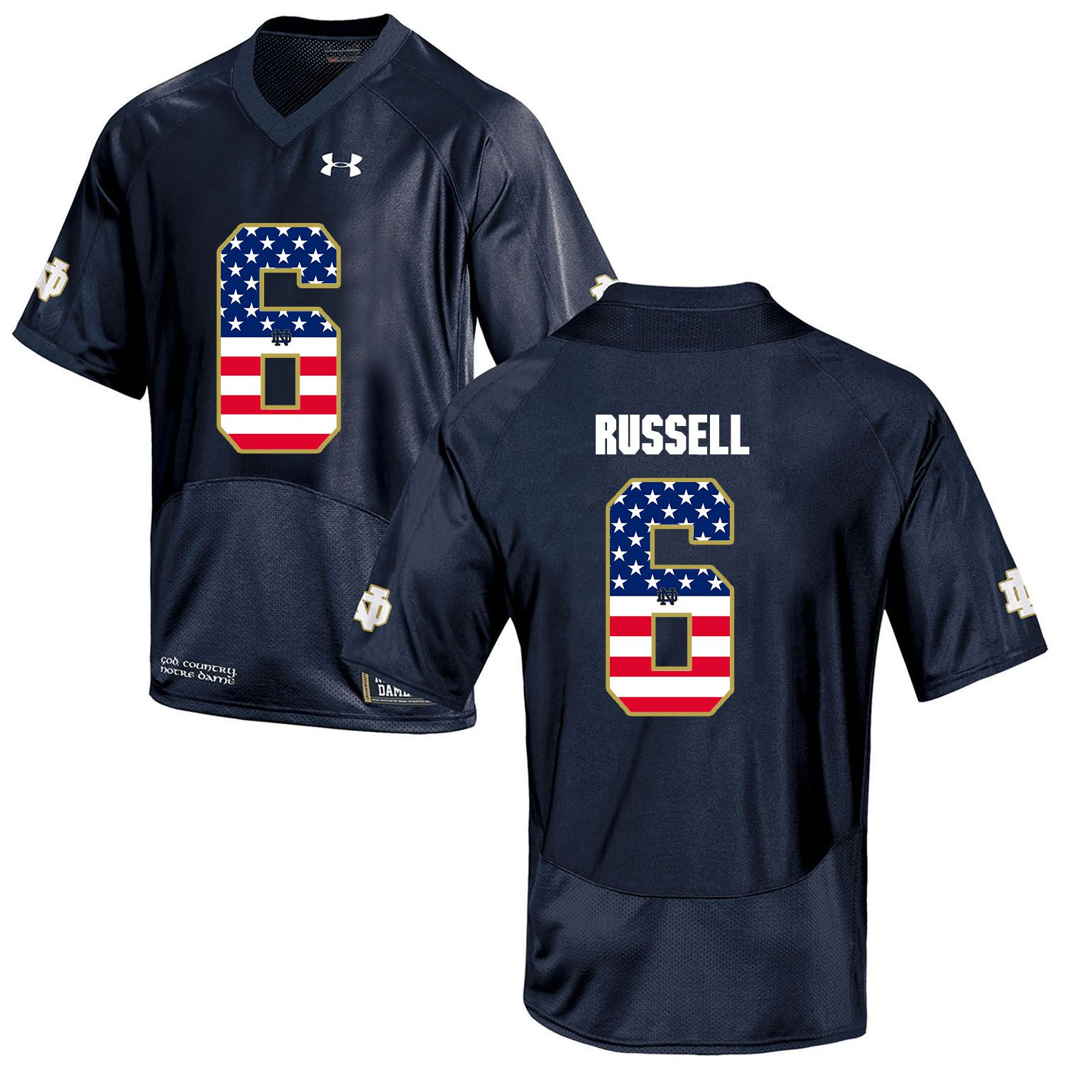 Men Norte Dame Fighting Irish 6 Russell Navy Blue Flag Customized NCAA Jerseys