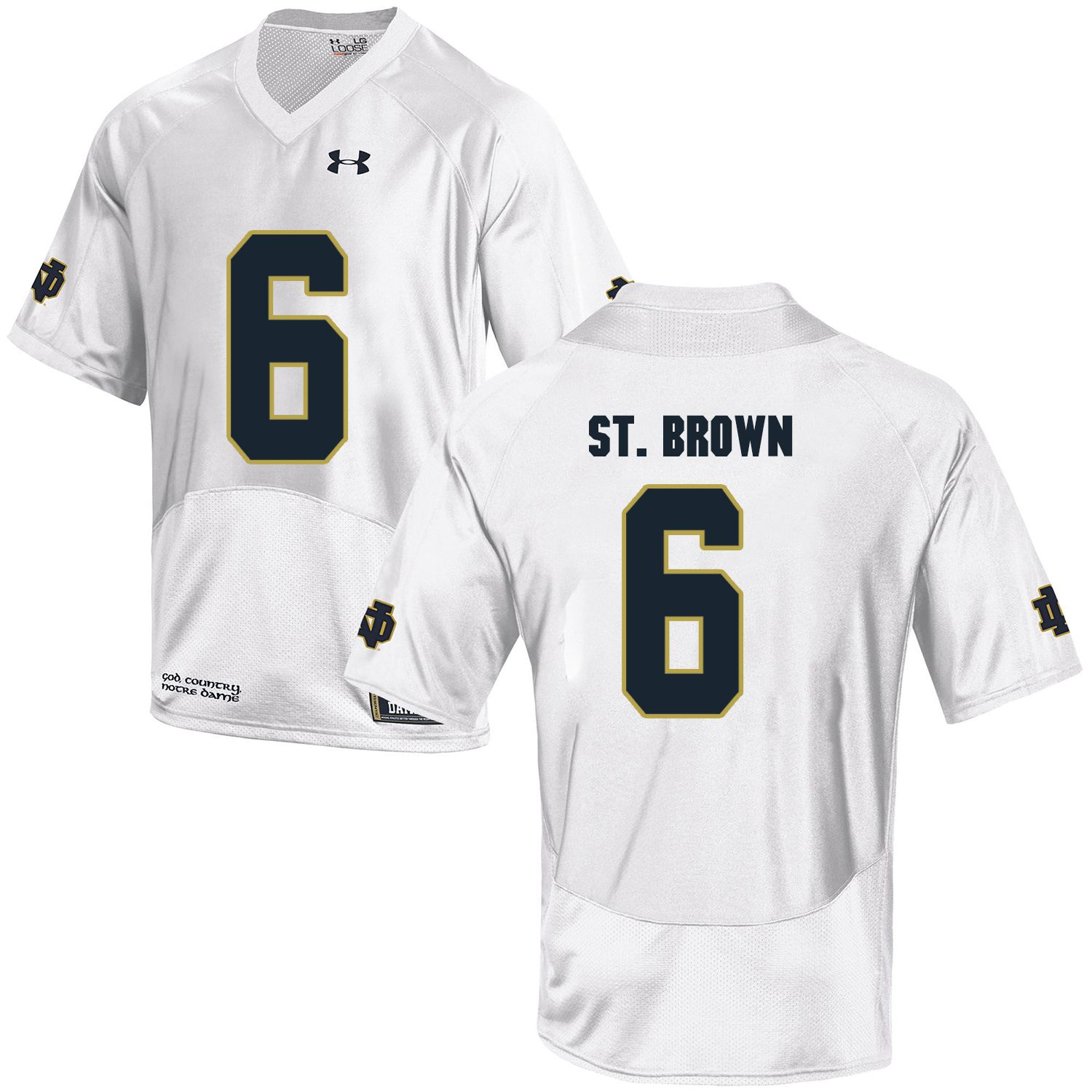 Men Norte Dame Fighting Irish 6 St.Brown White Customized NCAA Jerseys