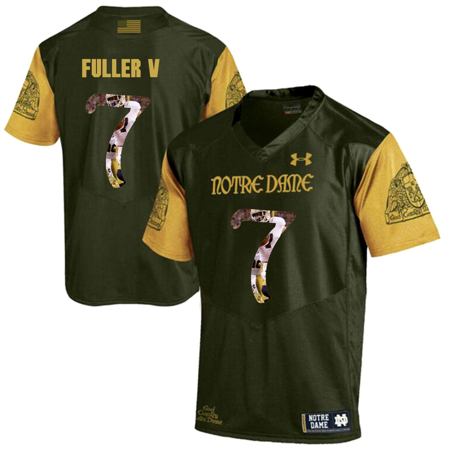 Men Norte Dame Fighting Irish 7 Fuller v Green Fashion Edition Customized NCAA Jerseys