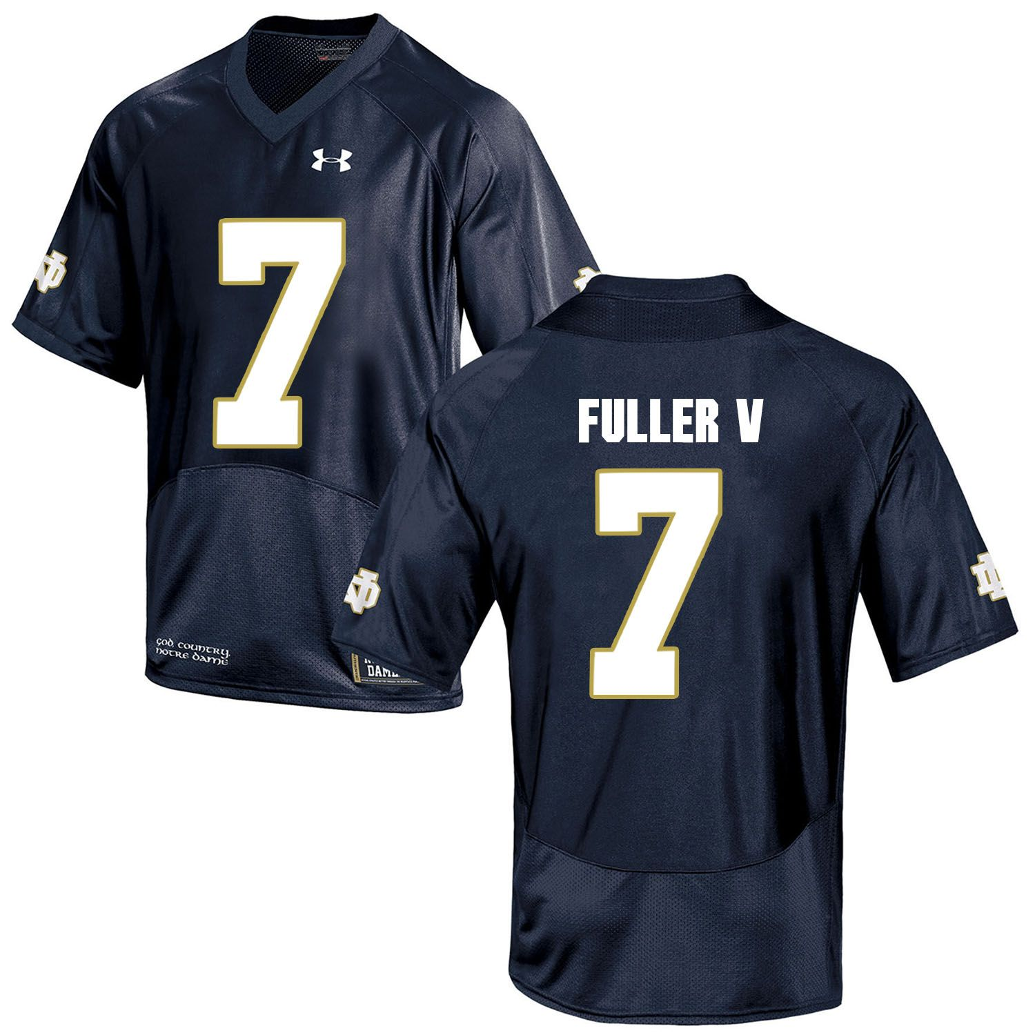 Men Norte Dame Fighting Irish 7 Fuller v Navy Blue Customized NCAA Jerseys