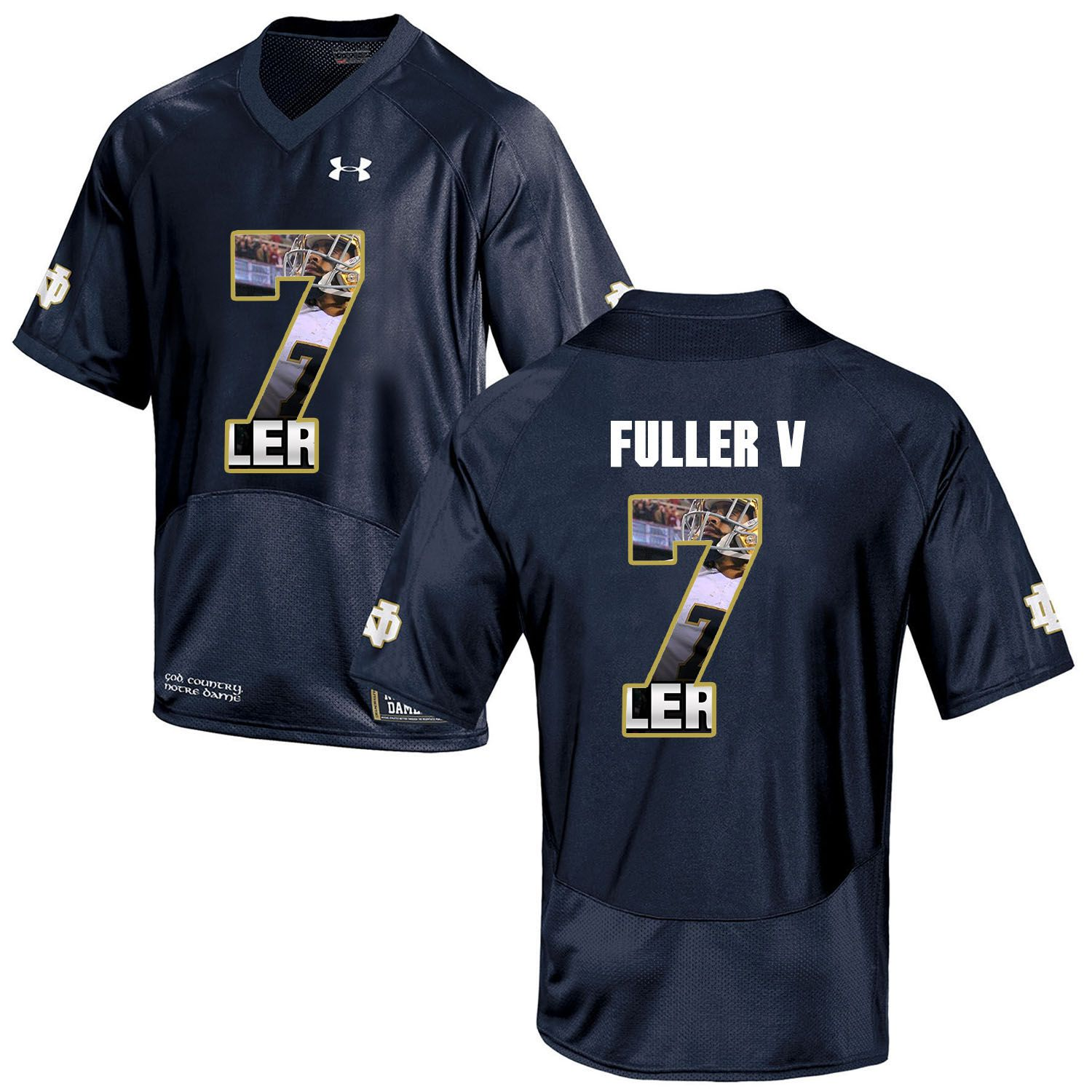 Men Norte Dame Fighting Irish 7 Fuller v Navy Blue Fashion Edition Customized NCAA Jerseys