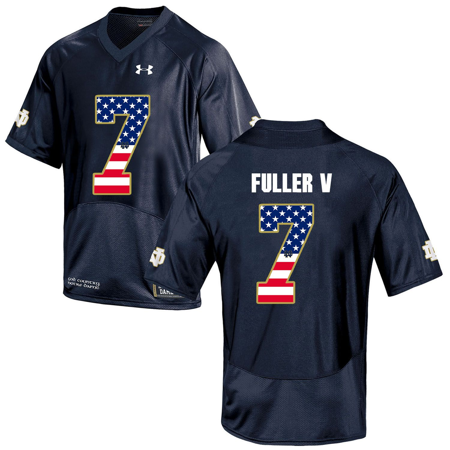 Men Norte Dame Fighting Irish 7 Fuller v Navy Blue Flag Customized NCAA Jerseys