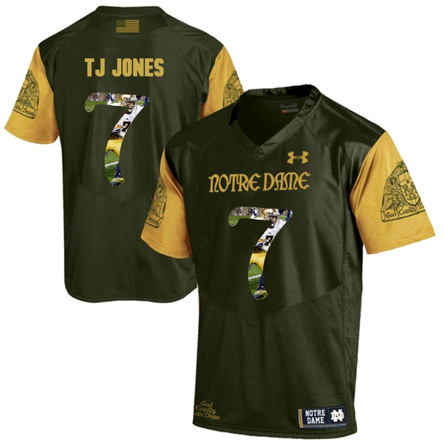 Men Norte Dame Fighting Irish 7 Tj Jones Green Fashion Edition Customized NCAA Jerseys