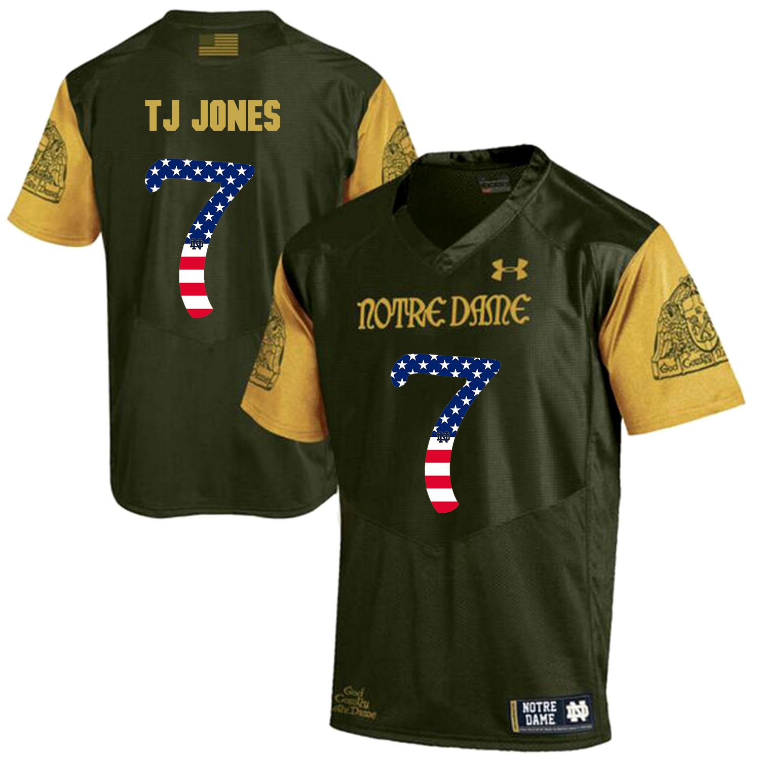 Men Norte Dame Fighting Irish 7 Tj Jones Green Flag Customized NCAA Jerseys
