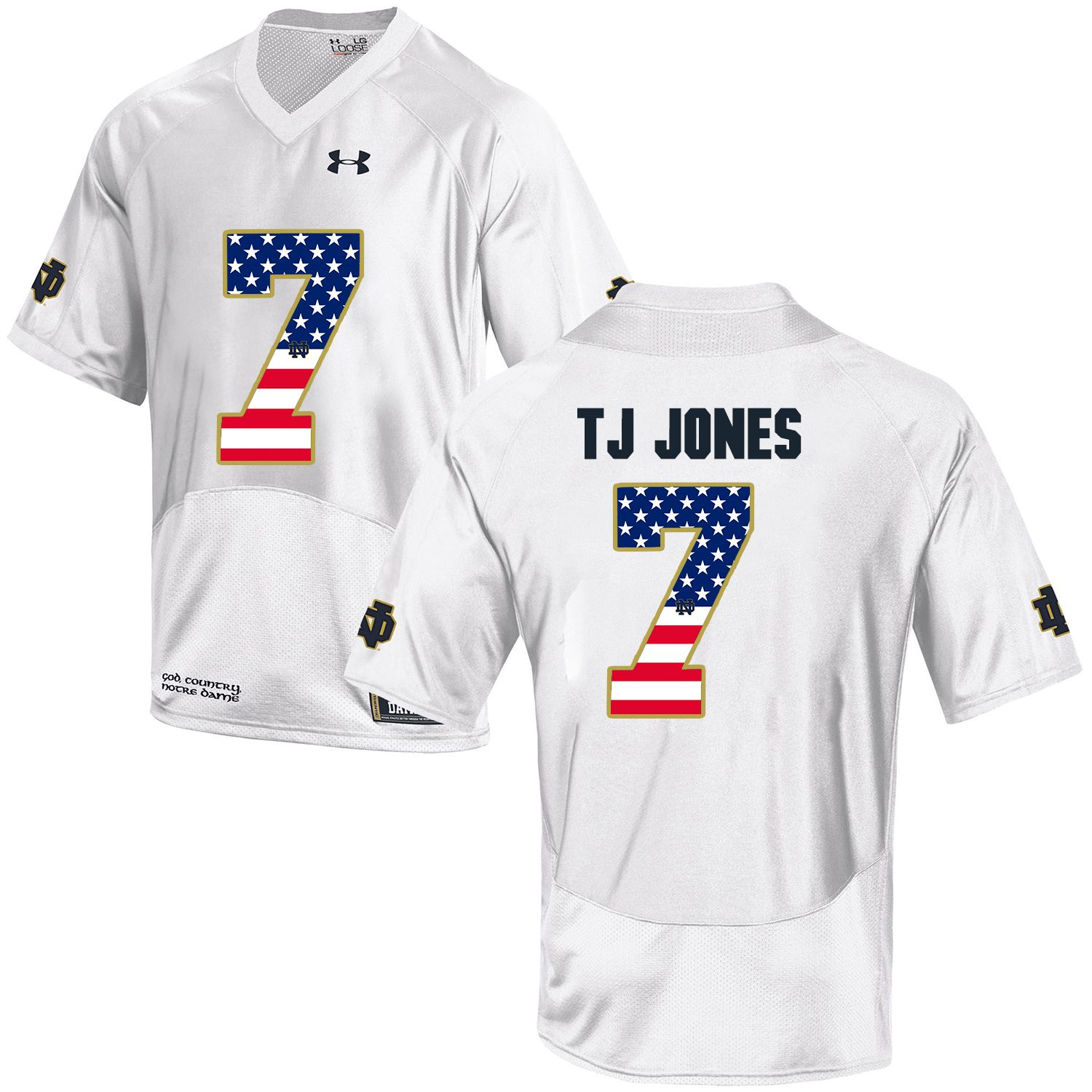 Men Norte Dame Fighting Irish 7 Tj Jones White Flag Customized NCAA Jerseys