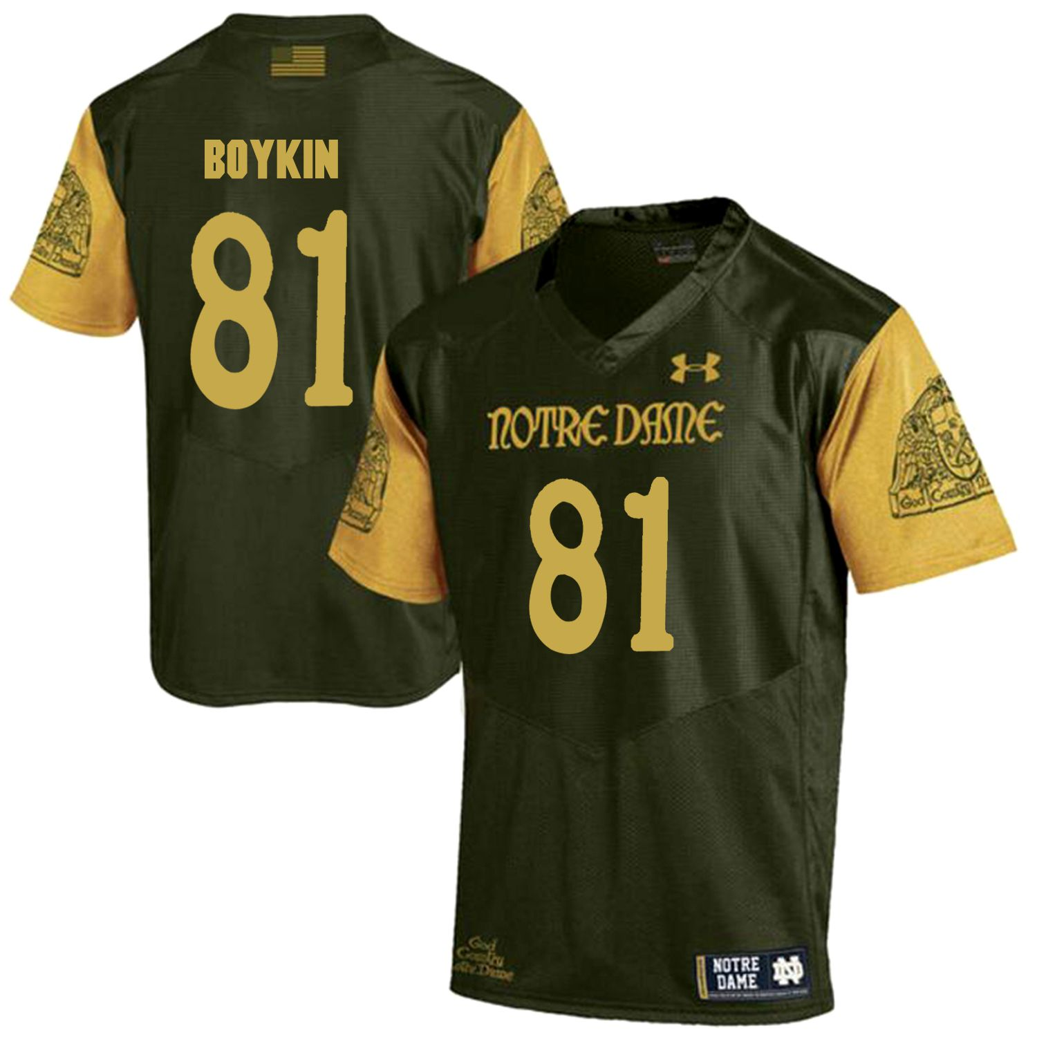 Men Norte Dame Fighting Irish 81 Boykin Green Customized NCAA Jerseys