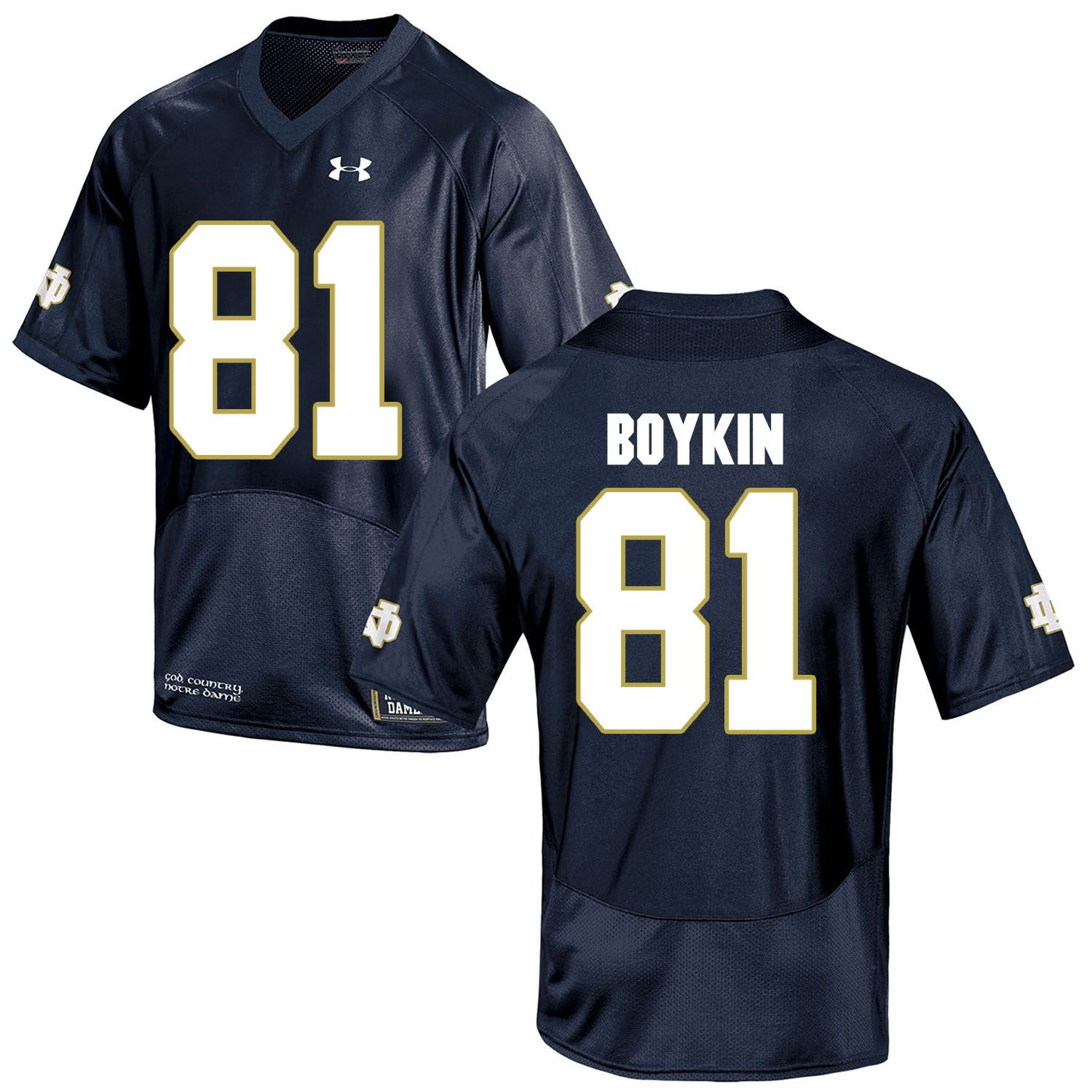 Men Norte Dame Fighting Irish 81 Boykin Navy Blue Customized NCAA Jerseys