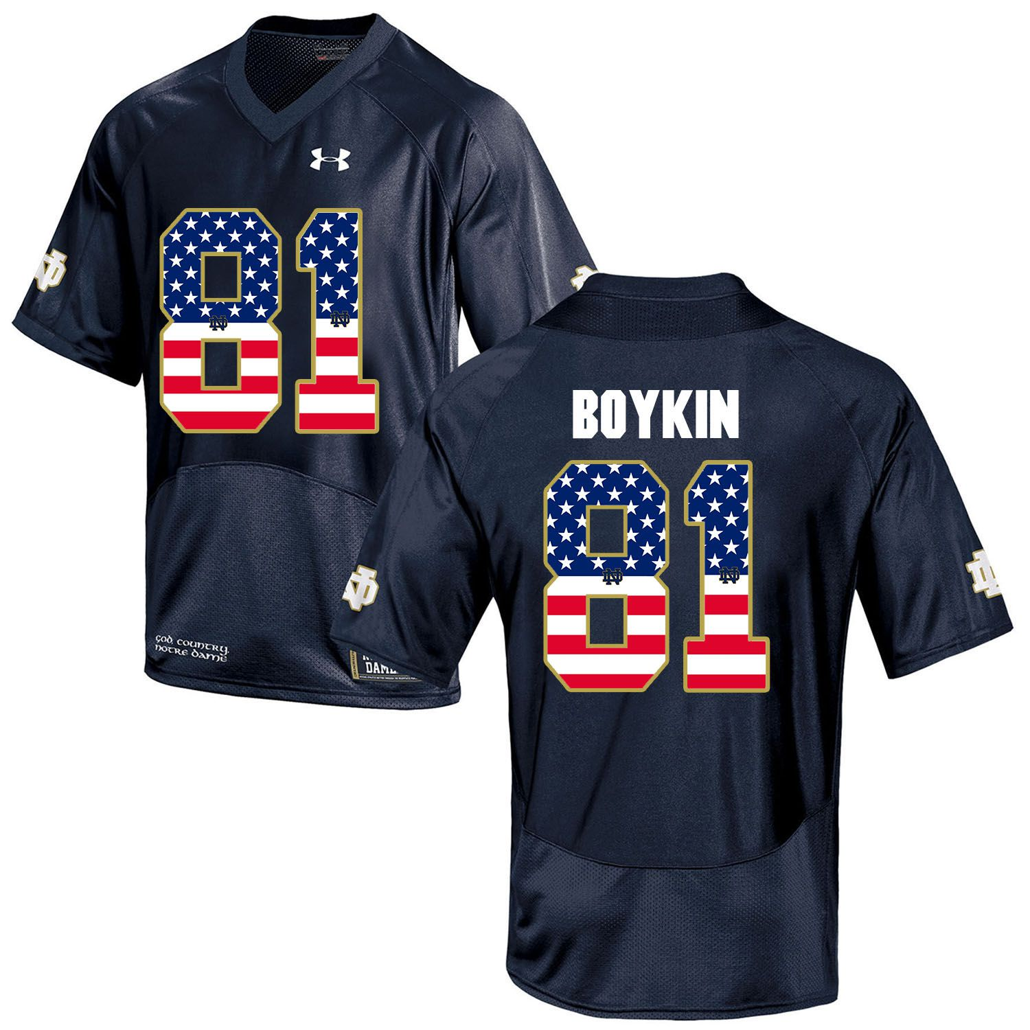 Men Norte Dame Fighting Irish 81 Boykin Navy Blue Flag Customized NCAA Jerseys