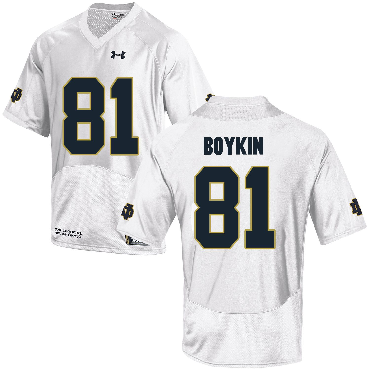 Men Norte Dame Fighting Irish 81 Boykin White Customized NCAA Jerseys