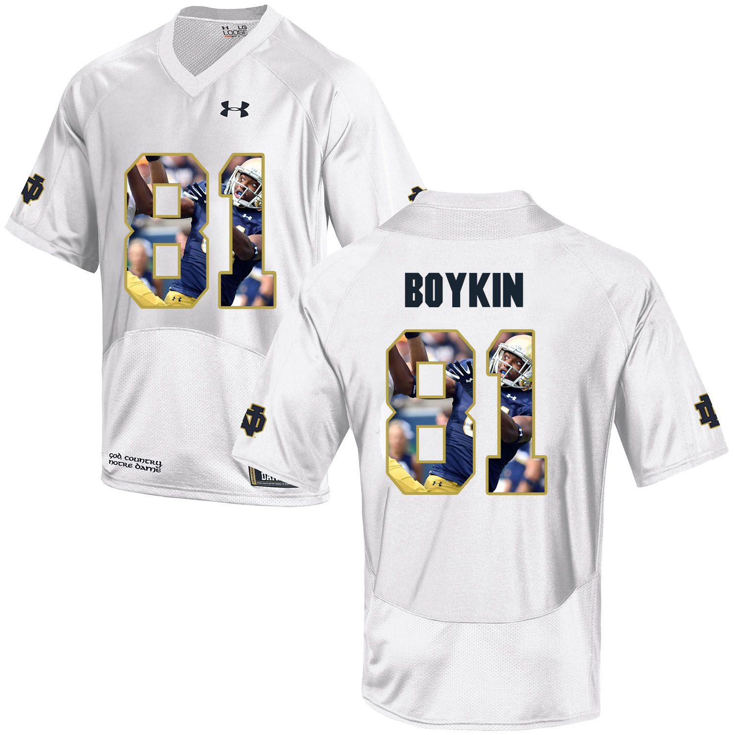 Men Norte Dame Fighting Irish 81 Boykin White Fashion Edition Customized NCAA Jerseys