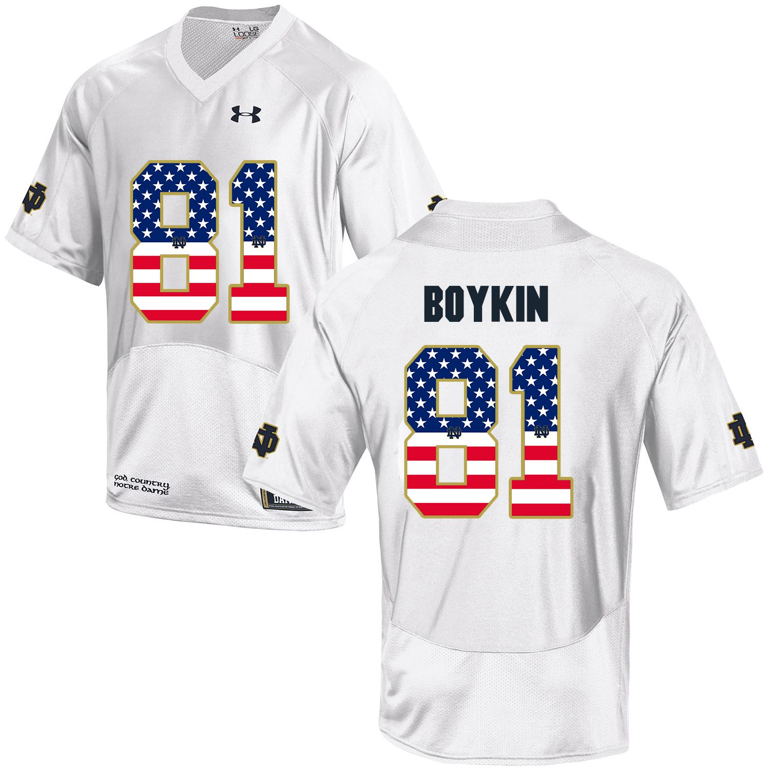 Men Norte Dame Fighting Irish 81 Boykin White Flag Customized NCAA Jerseys