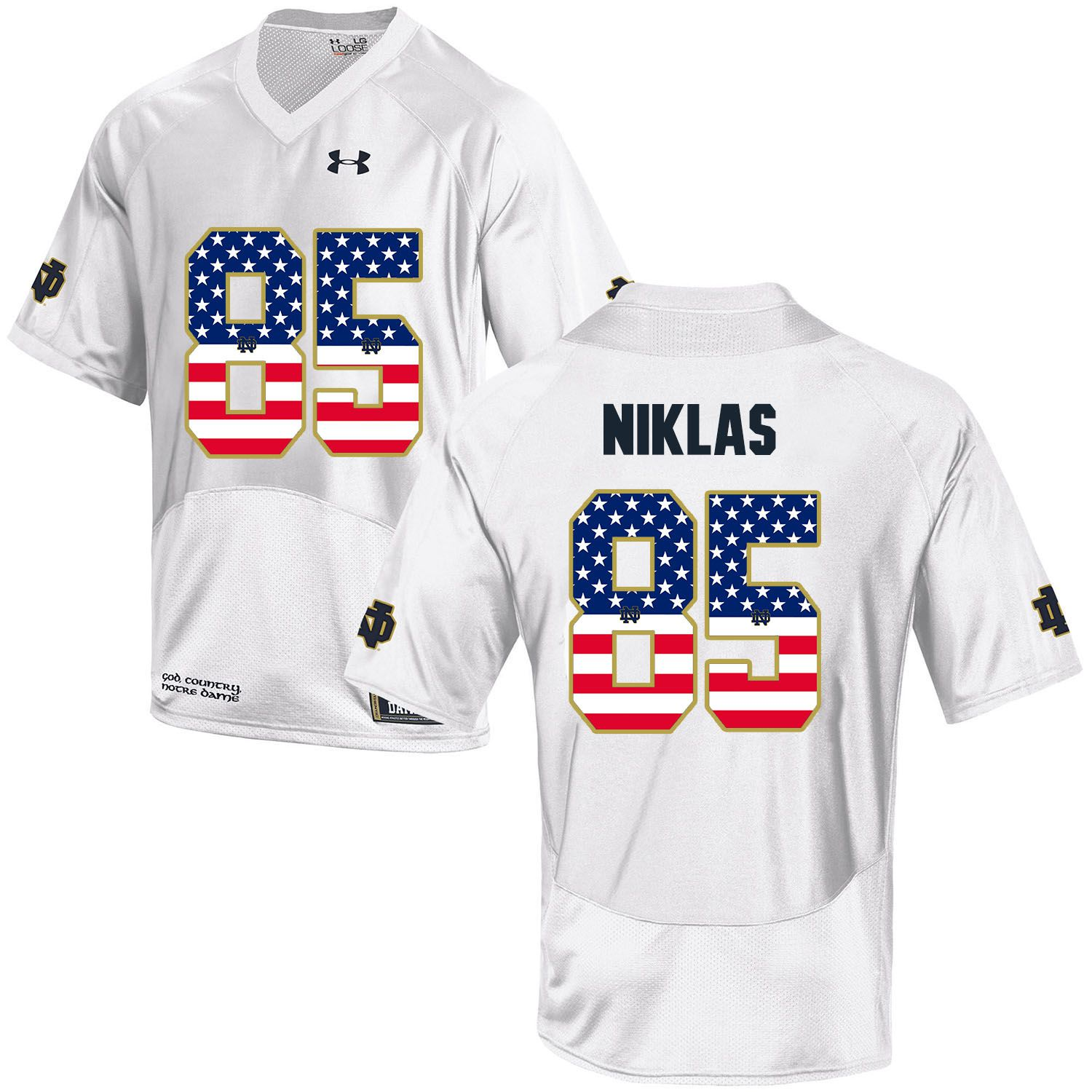 Men Norte Dame Fighting Irish 85 Niklas White Flag Customized NCAA Jerseys