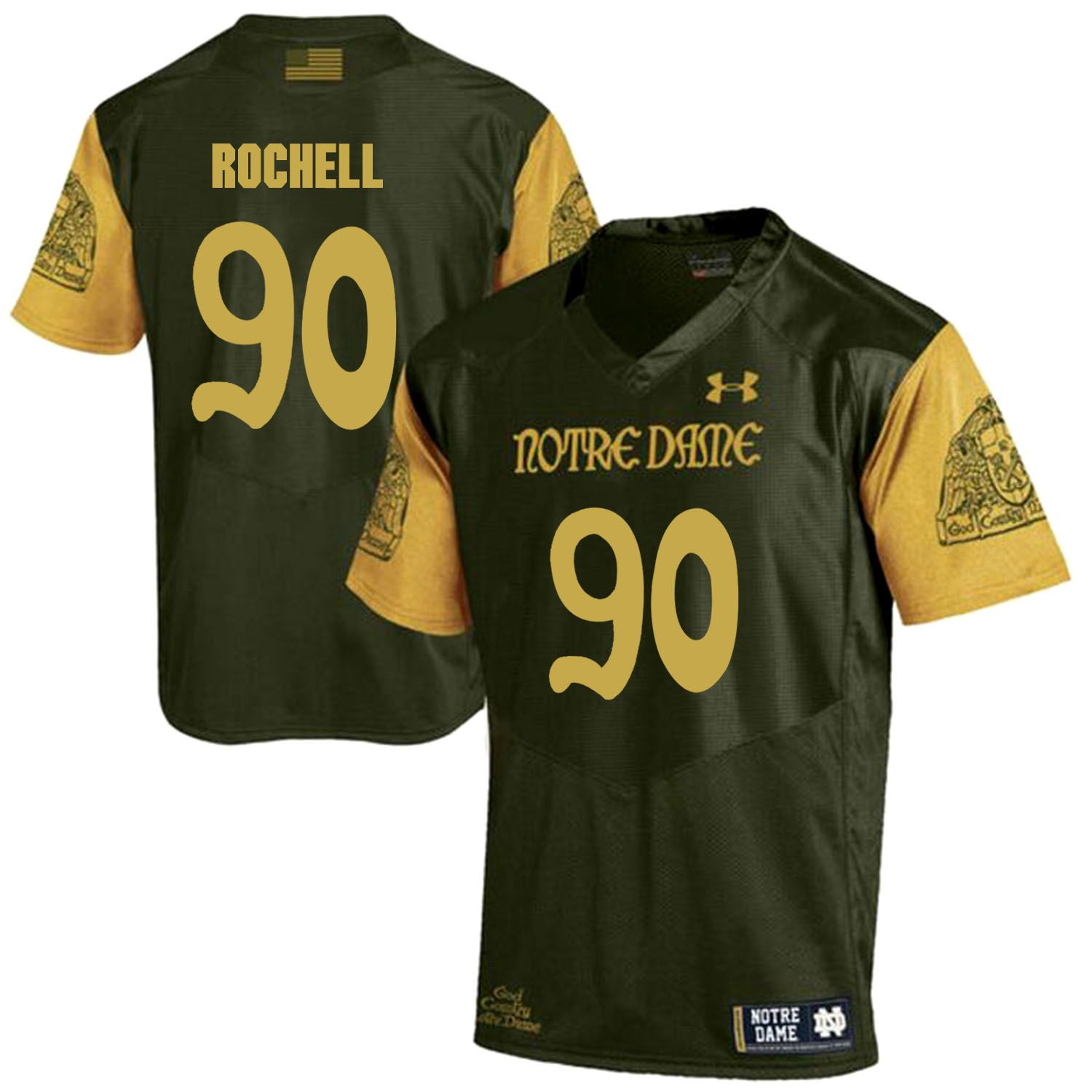 Men Norte Dame Fighting Irish 90 Rochell Green Customized NCAA Jerseys