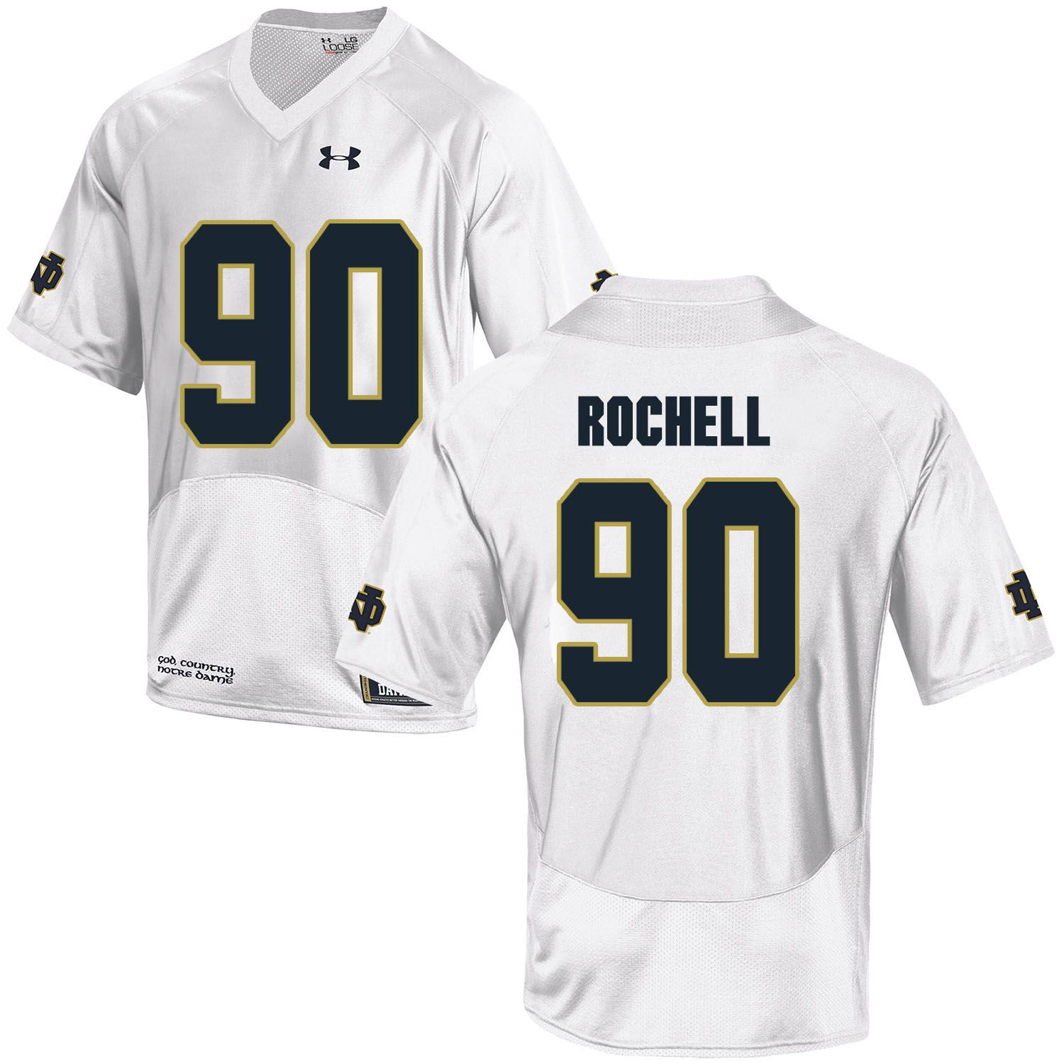 Men Norte Dame Fighting Irish 90 Rochell White Customized NCAA Jerseys