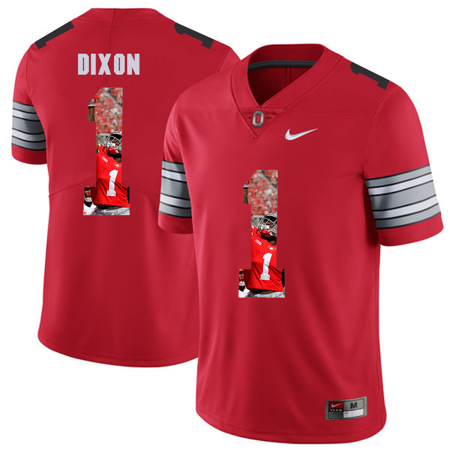 Men Ohio State 1 Dixon Red Fashion Edition Customized NCAA Jerseys