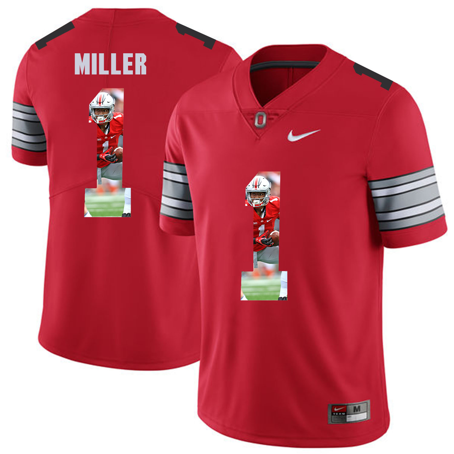 Men Ohio State 1 Miller Red Fashion Edition Customized NCAA Jerseys