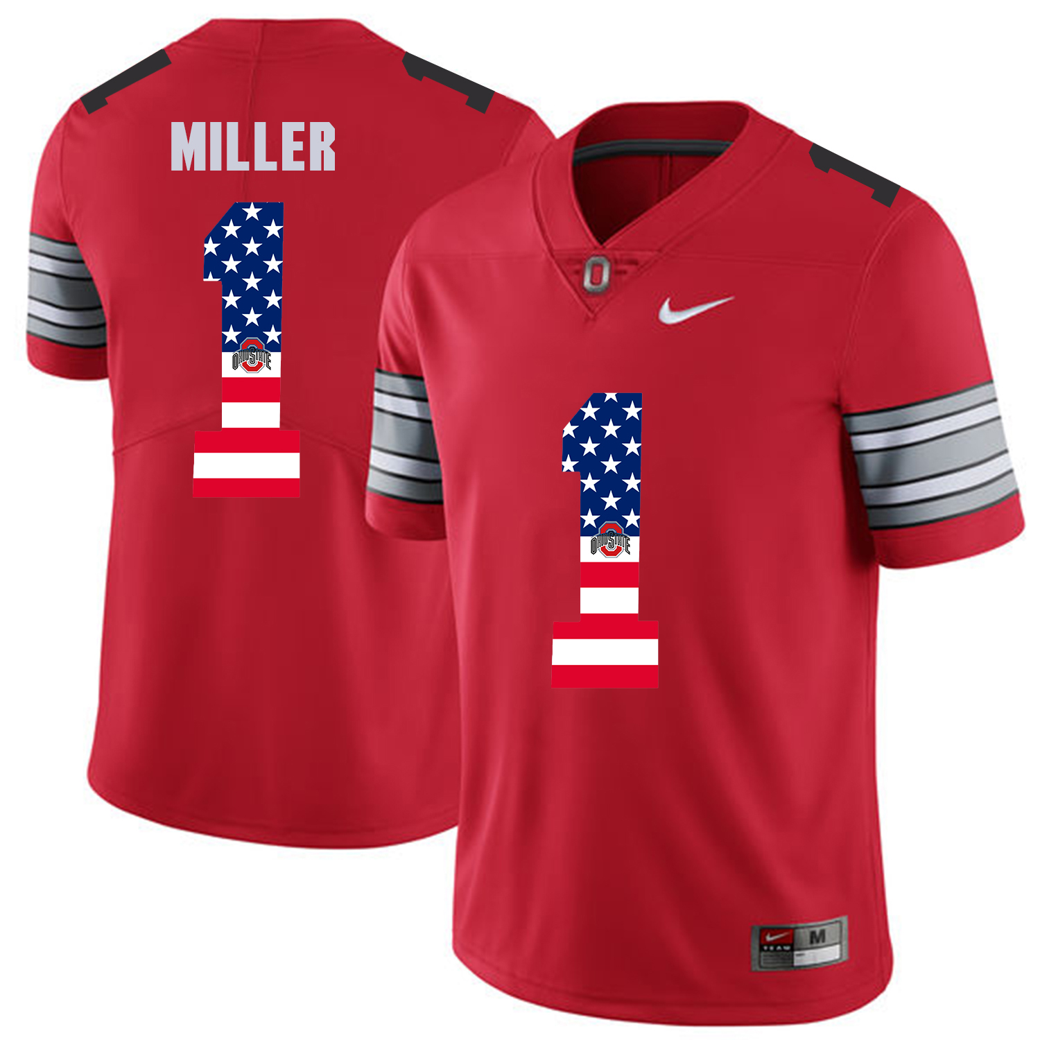 Men Ohio State 1 Miller Red Flag Customized NCAA Jerseys