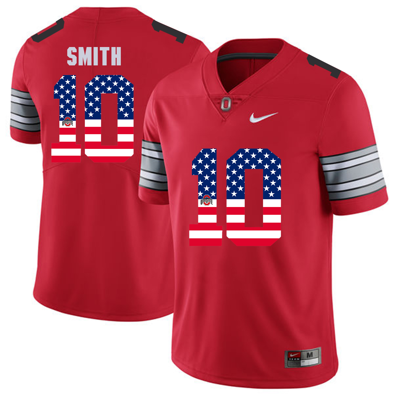 Men Ohio State 10 Smith Red Flag Customized NCAA Jerseys