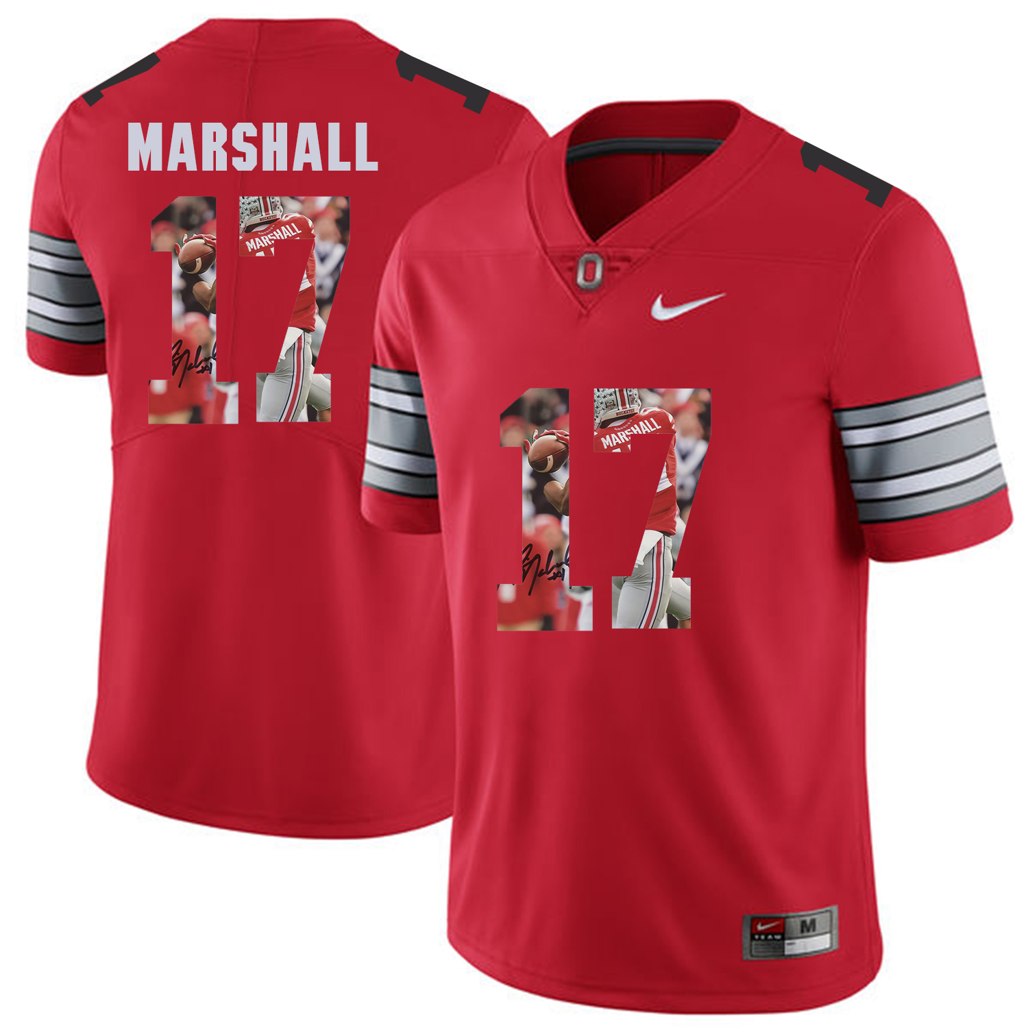 Men Ohio State 17 Marshall Red Fashion Edition Customized NCAA Jerseys