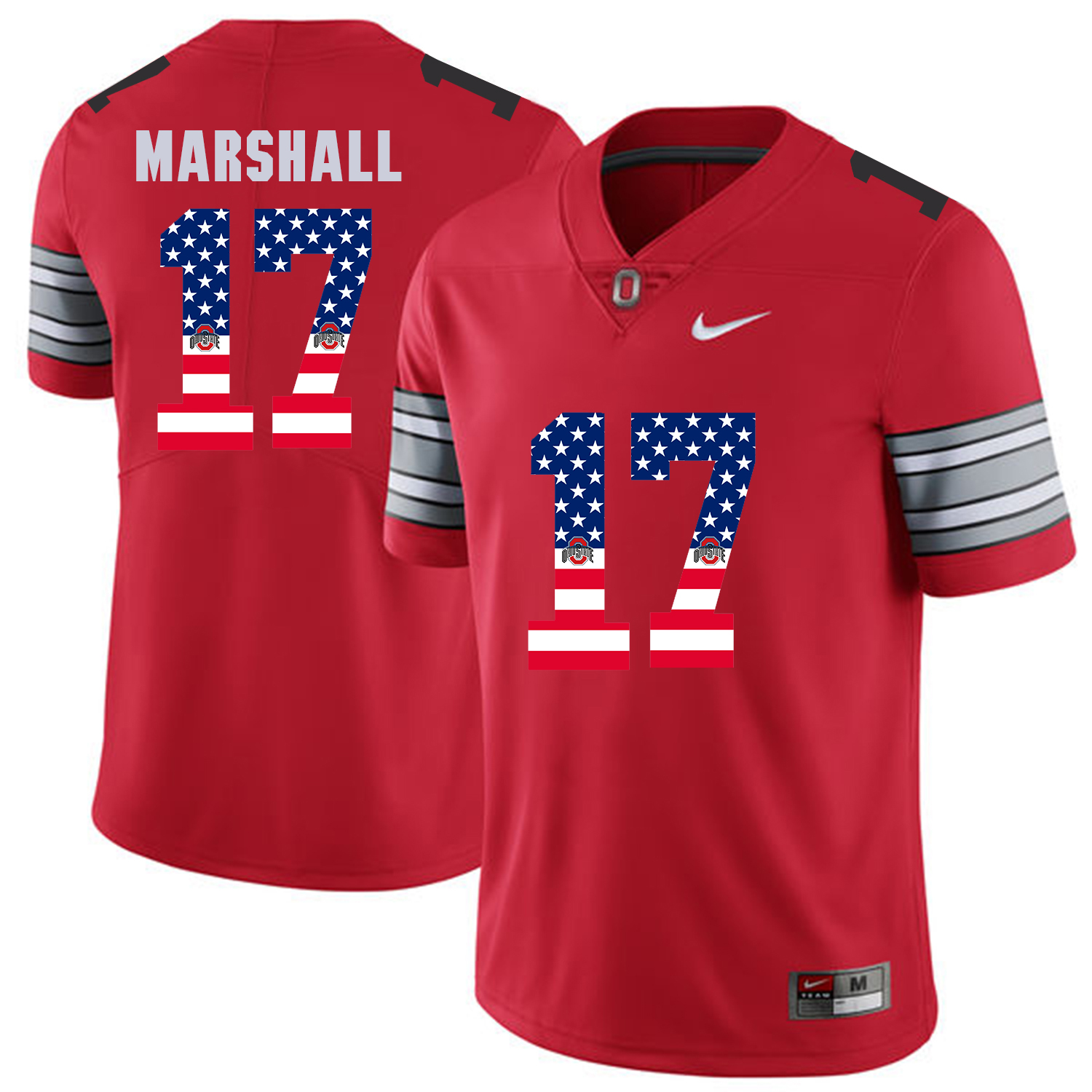 Men Ohio State 17 Marshall Red Flag Customized NCAA Jerseys