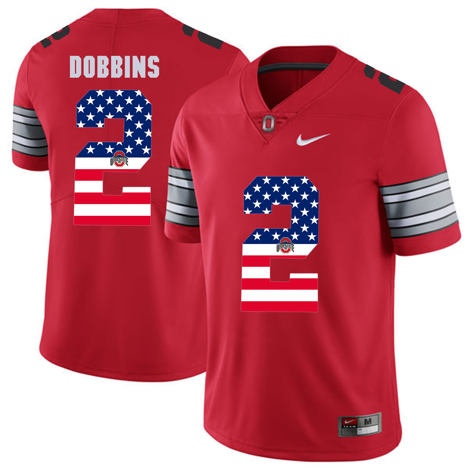 Men Ohio State 2 Dobbins Red Flag Customized NCAA Jerseys