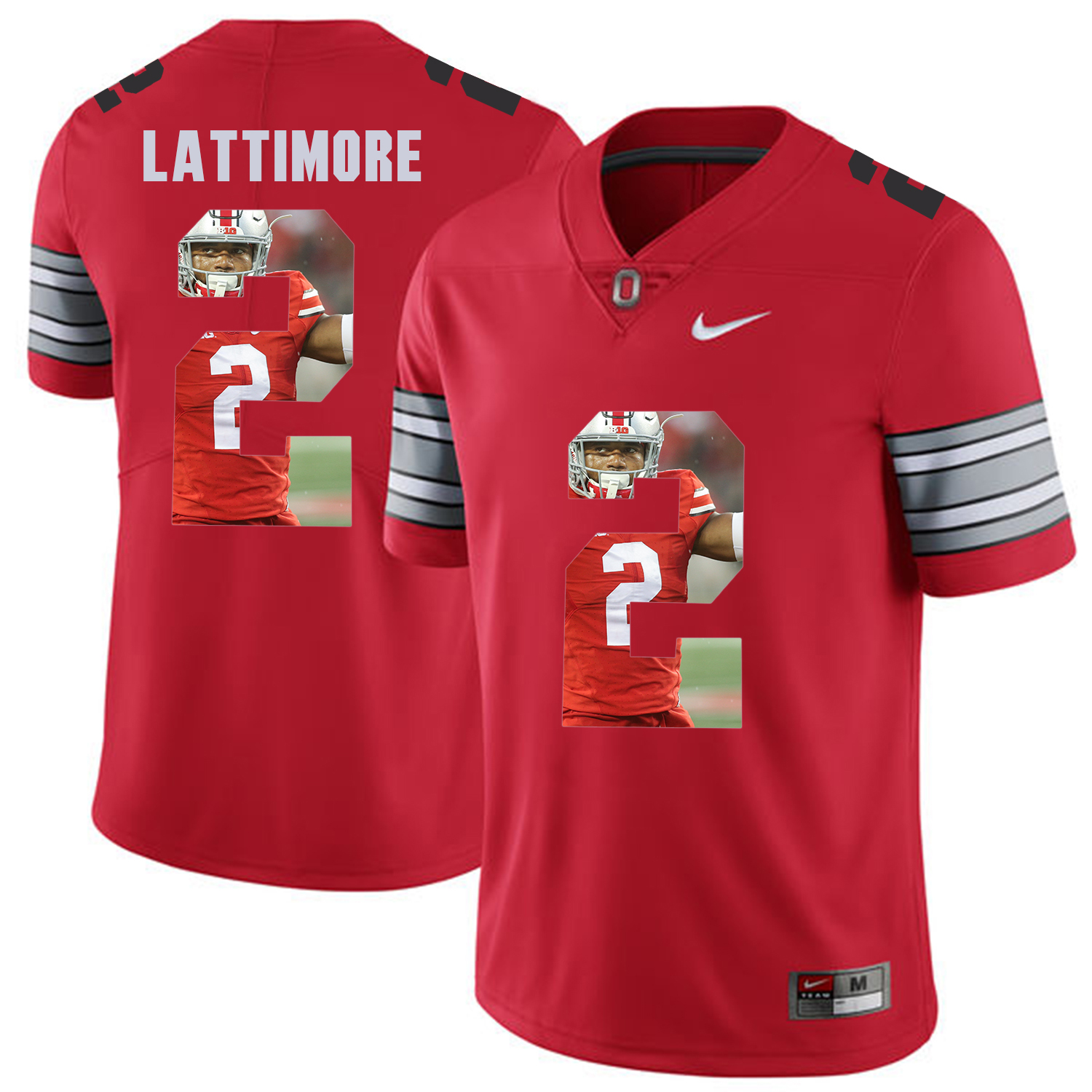 Men Ohio State 2 Lattimore Red Fashion Edition Customized NCAA Jerseys