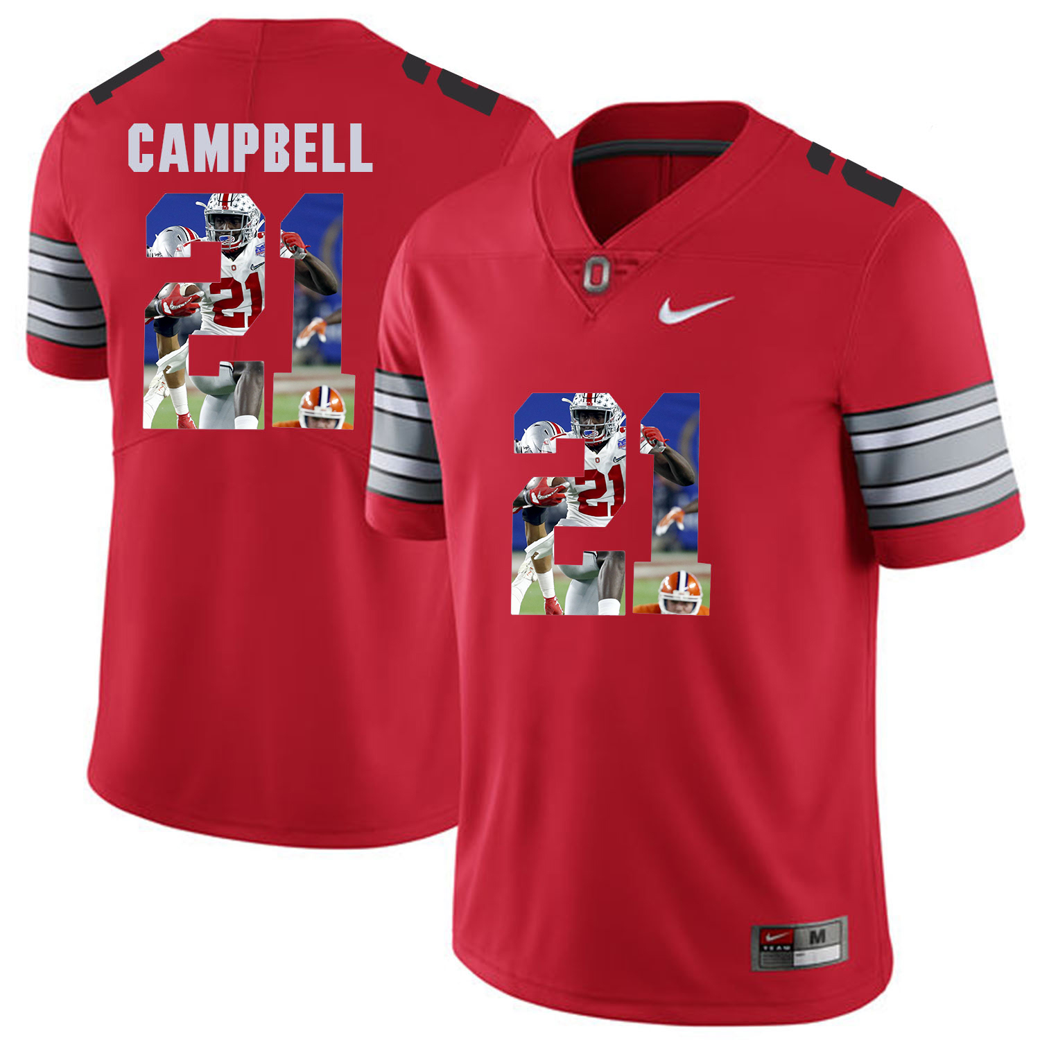 Men Ohio State 21 Gampbell Red Fashion Edition Customized NCAA Jerseys