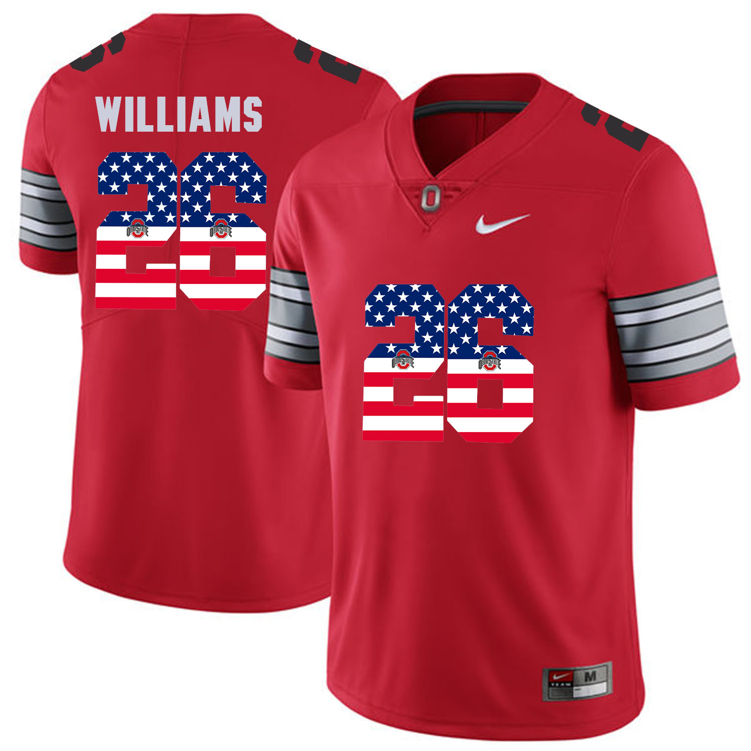 Men Ohio State 26 Williams Red Flag Customized NCAA Jerseys