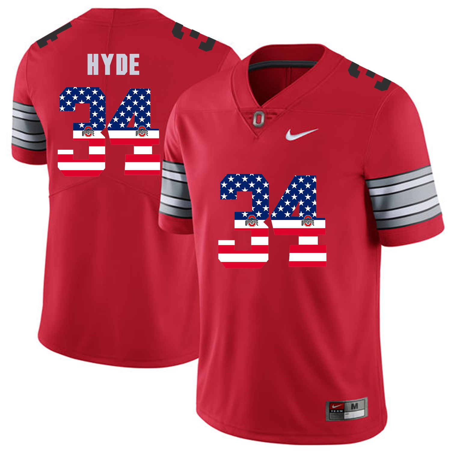 Men Ohio State 34 Hyde Red Flag Customized NCAA Jerseys