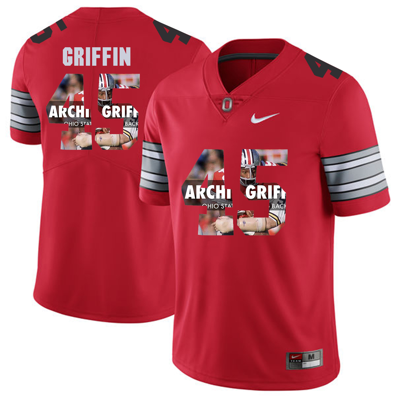Men Ohio State 45 Griffin Red Fashion Edition Customized NCAA Jerseys