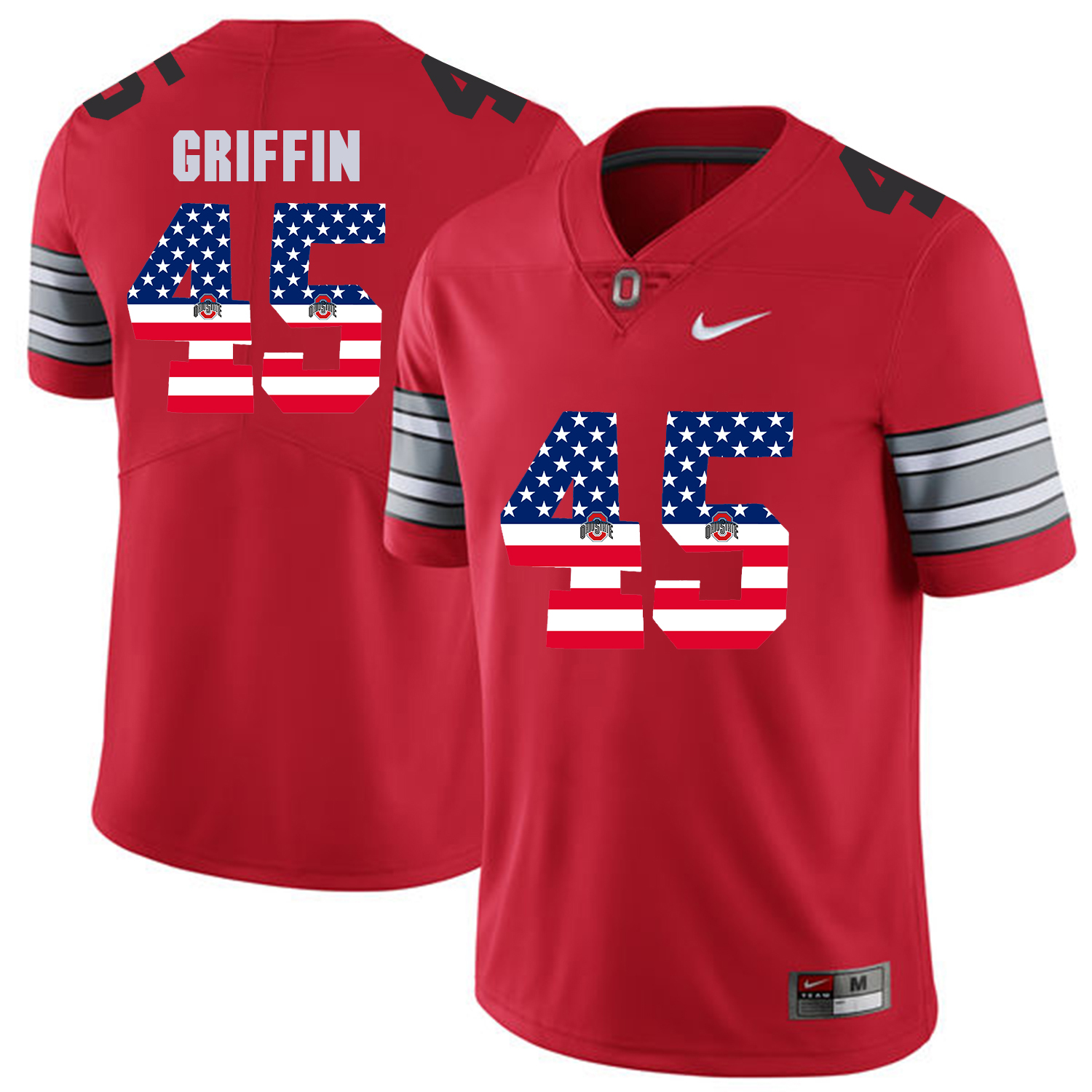 Men Ohio State 45 Griffin Red Flag Customized NCAA Jerseys