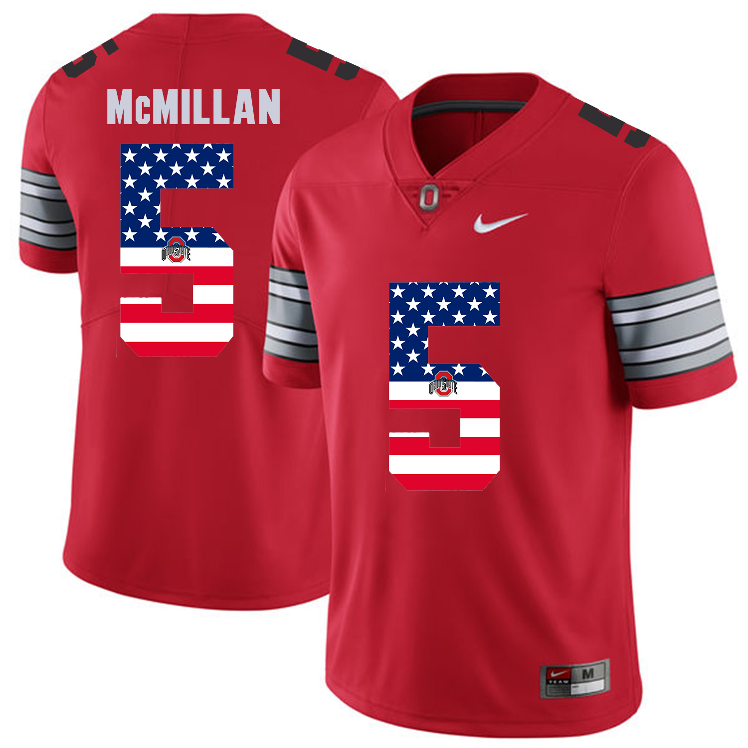 Men Ohio State 5 Mcmillan Red Flag Customized NCAA Jerseys