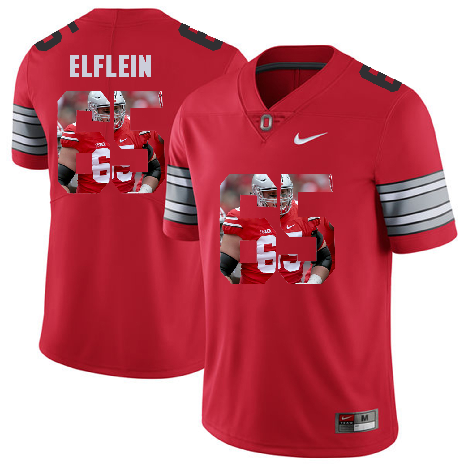 Men Ohio State 65 Elflein Red Fashion Edition Customized NCAA Jerseys
