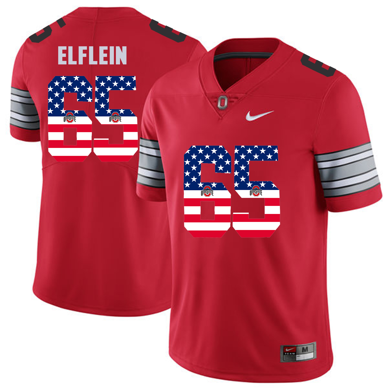 Men Ohio State 65 Elflein Red Flag Customized NCAA Jerseys